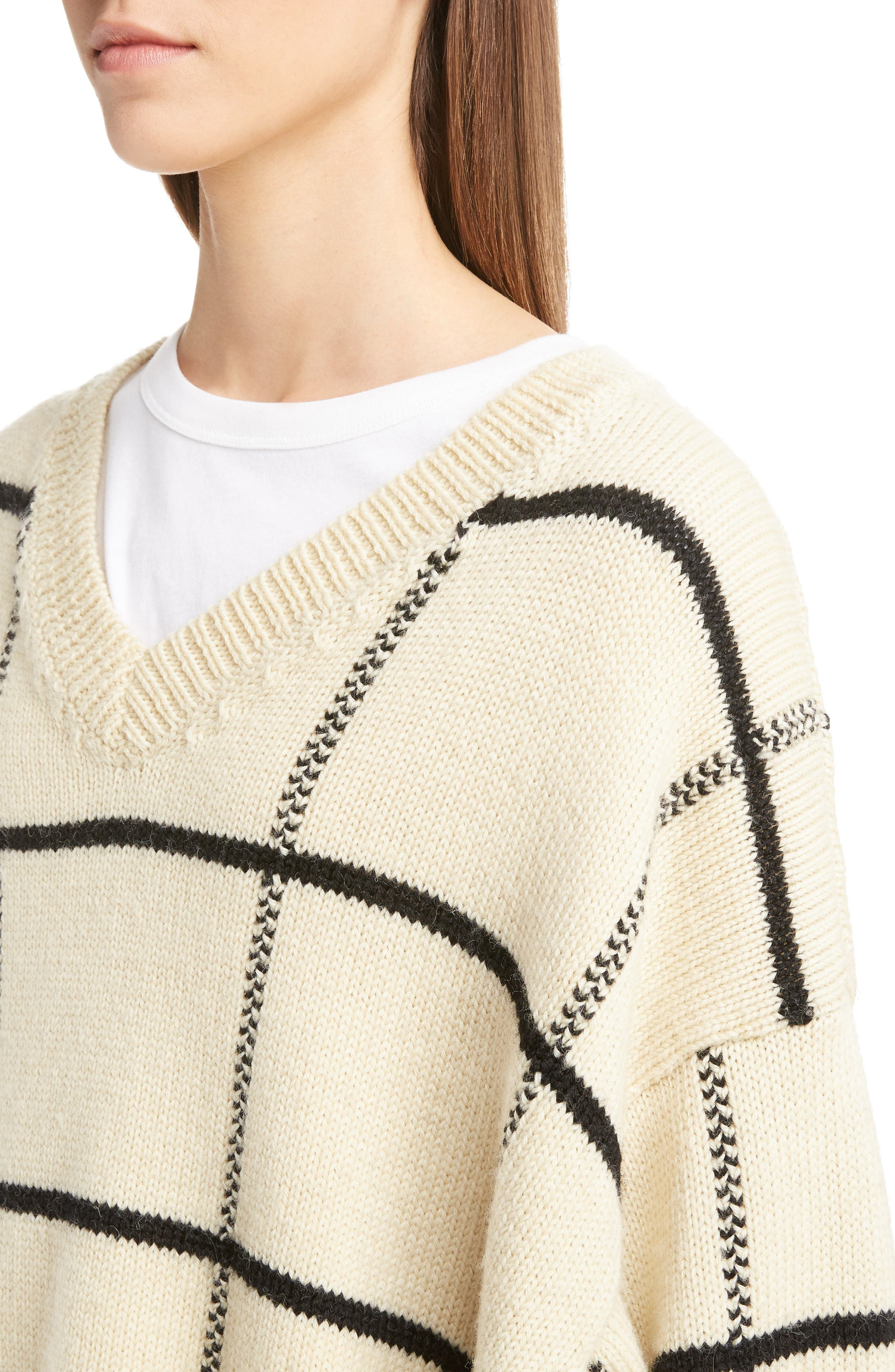 Windowpane Knit Wool Sweater,                             Alternate thumbnail 8, color,