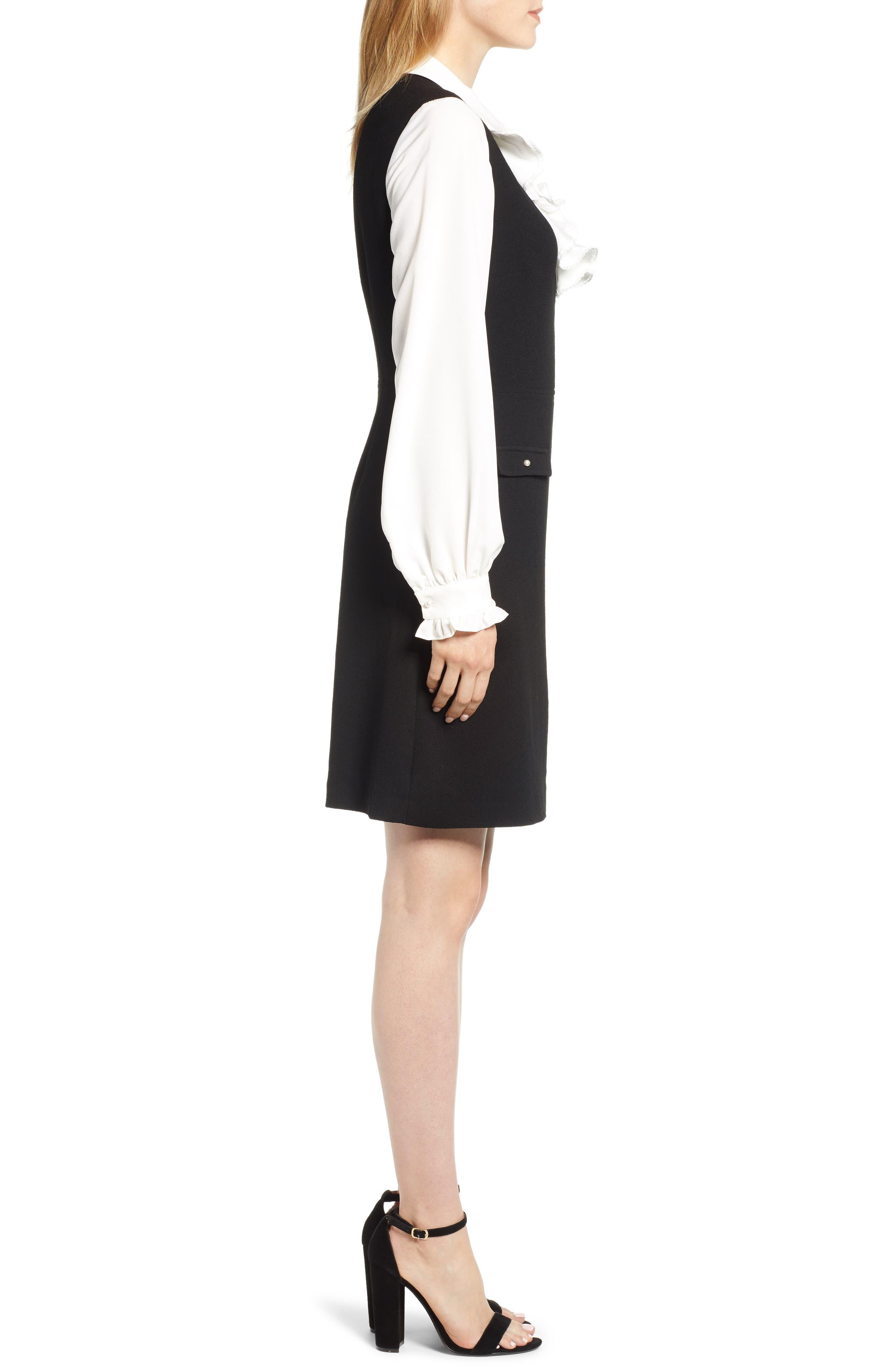 Ruffle Sweater Dress,                             Alternate thumbnail 3, color,                             BLACK/ WHITE