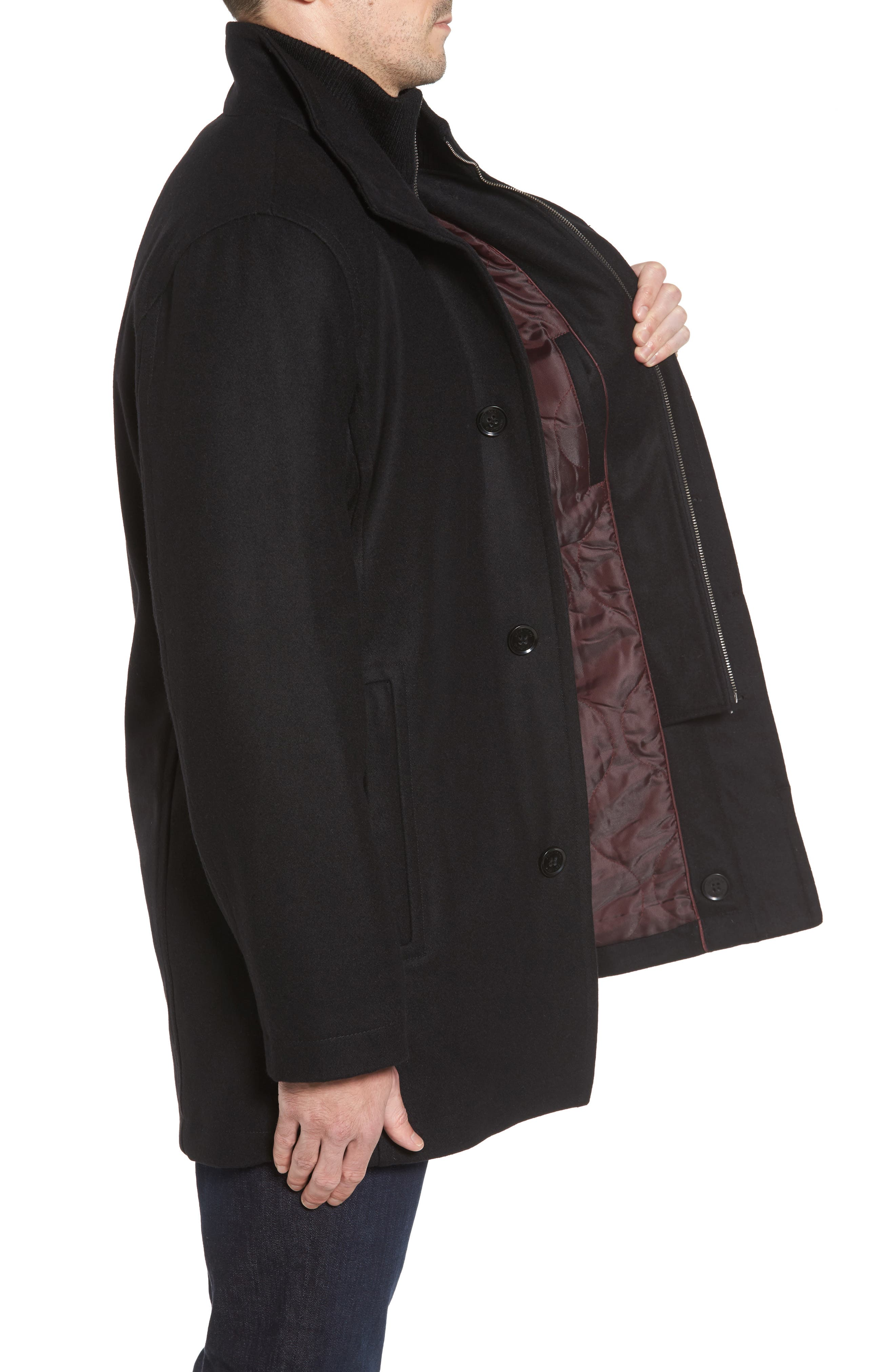 Melton Wool Blend Coat,                             Alternate thumbnail 3, color,                             BLACK