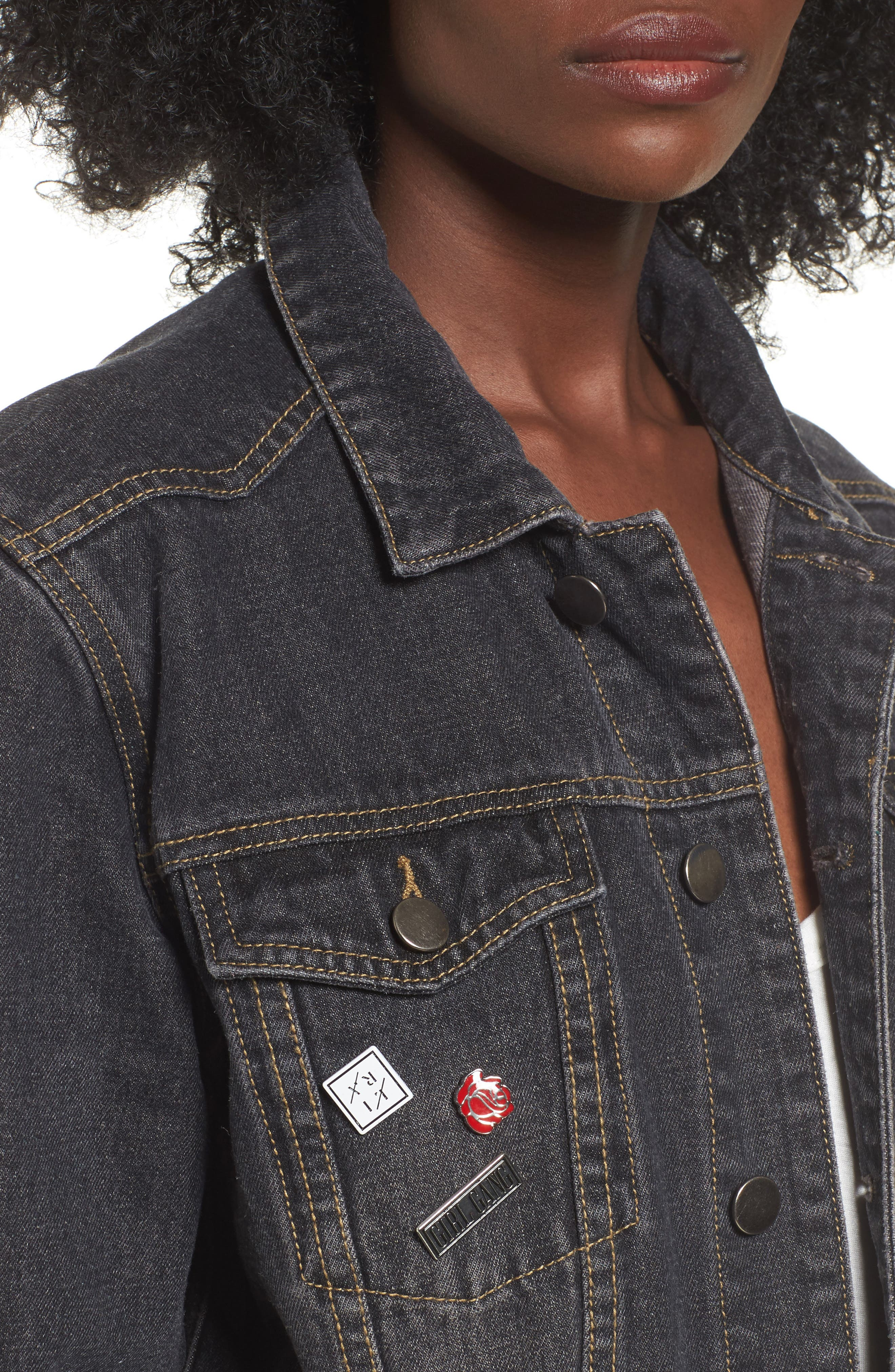 Girl Gang Denim Jacket,                             Alternate thumbnail 5, color,