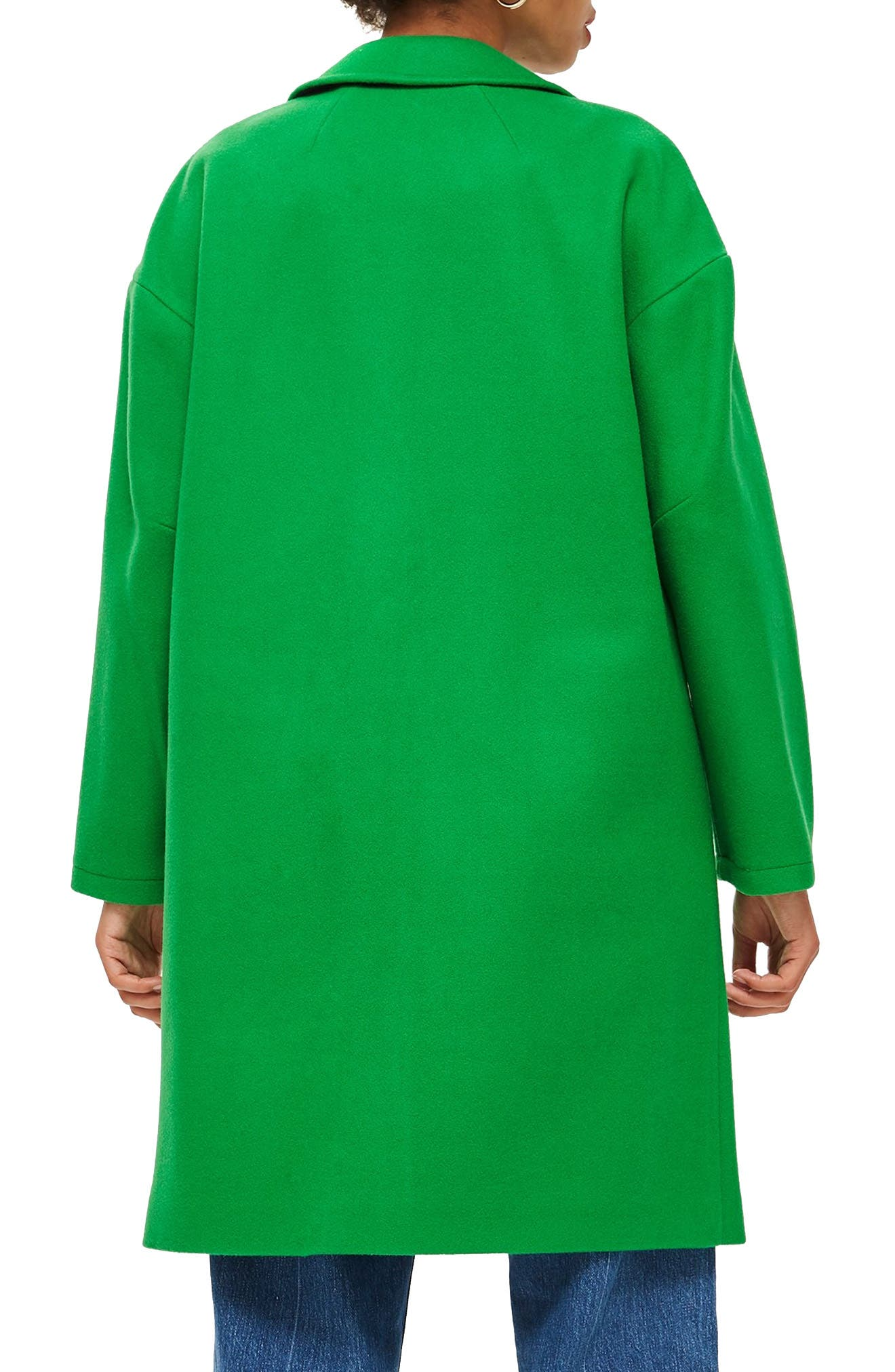 Lily Knit Back Midi Coat,                             Alternate thumbnail 2, color,                             BRIGHT GREEN