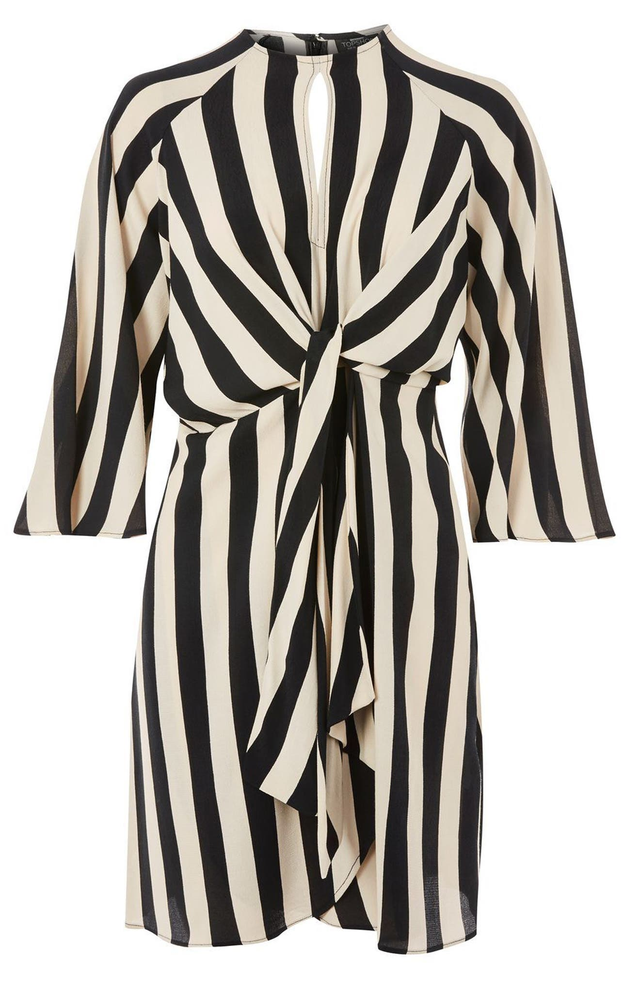 Humbug Stripe Knot Maternity Dress,                             Alternate thumbnail 4, color,                             900