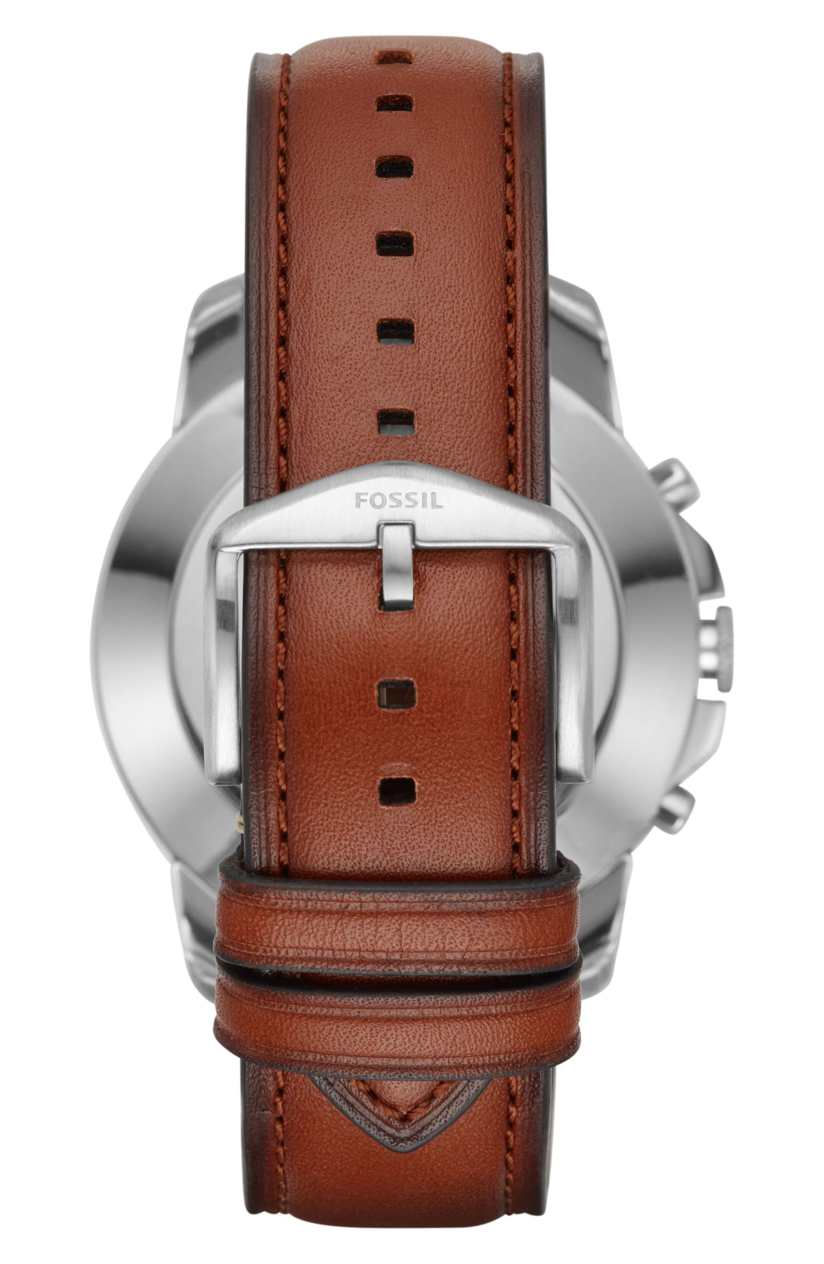 Grant Leather Strap Smart Watch, 44mm,                             Alternate thumbnail 2, color,                             BROWN/ BLUE/ SILVER