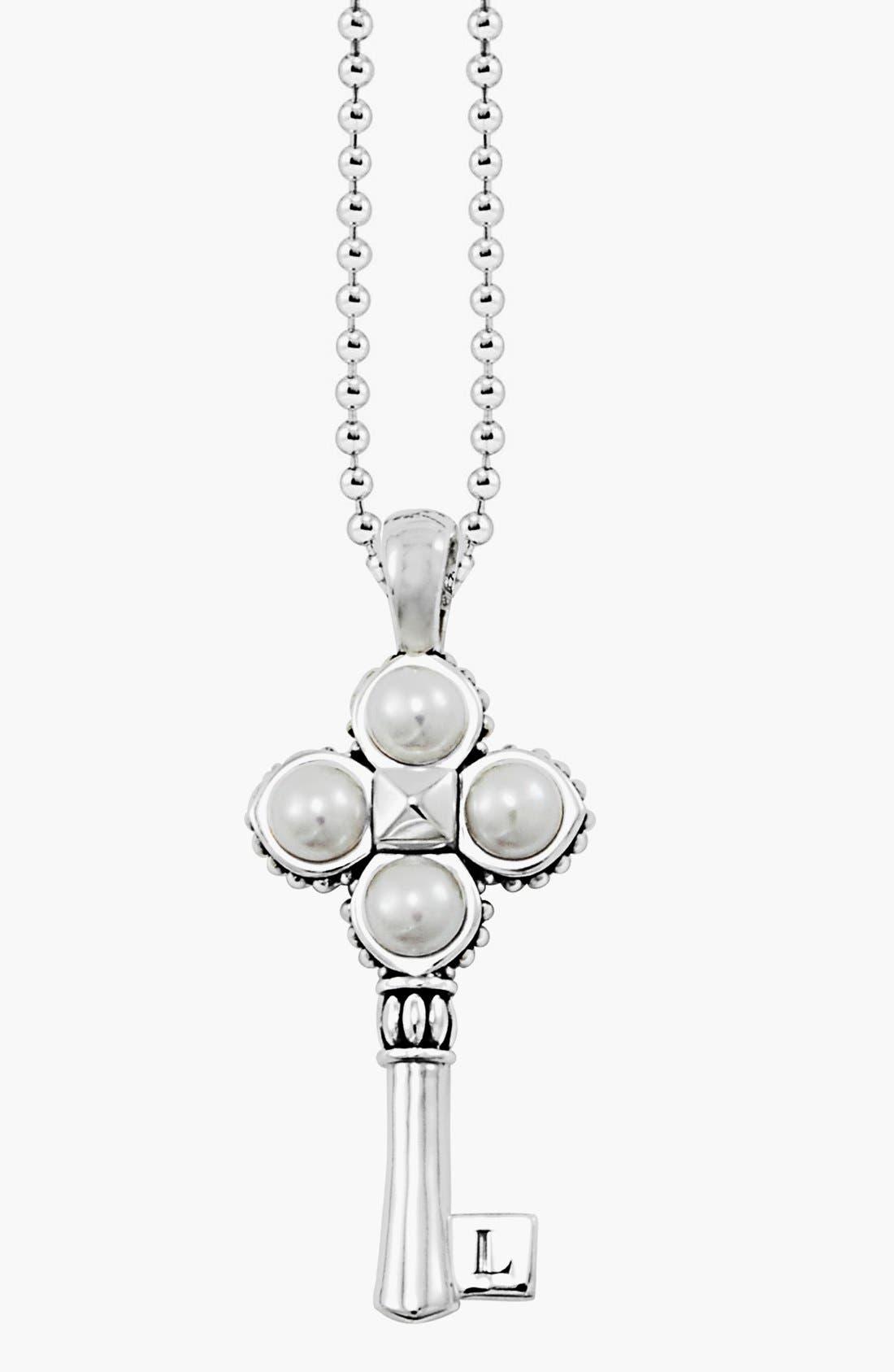 'Luna' Pearl Long Key Pendant Necklace,                             Main thumbnail 1, color,
