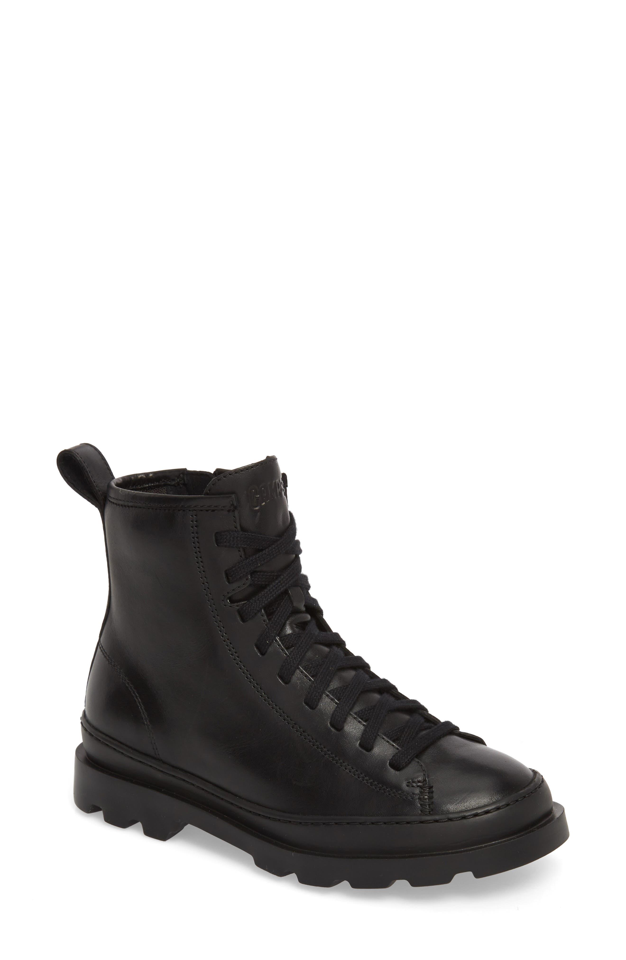 Brutus Combat Boot,                             Main thumbnail 1, color,                             BLACK LEATHER