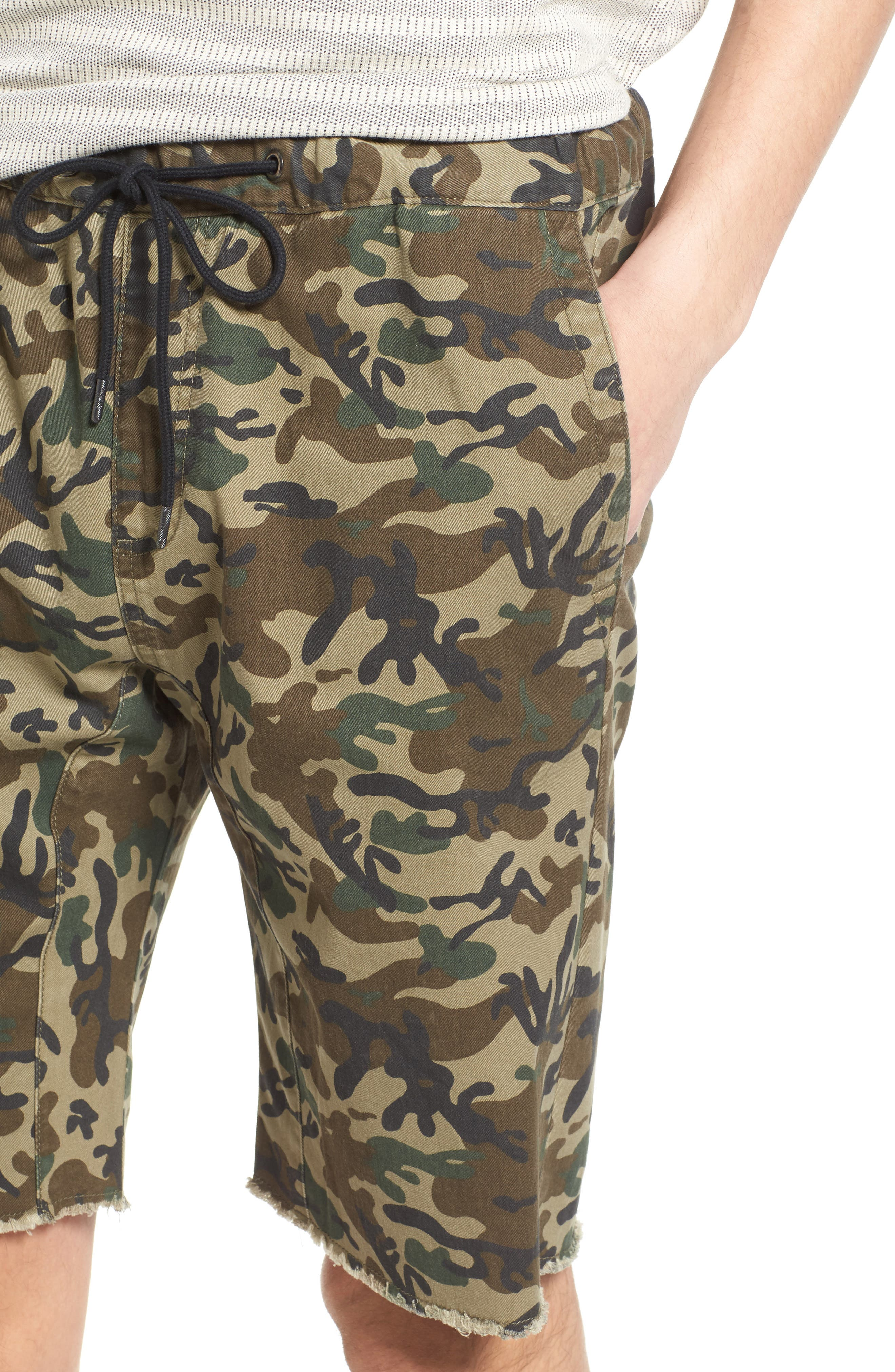 Camo Print Cutoff Twill Shorts,                             Alternate thumbnail 8, color,