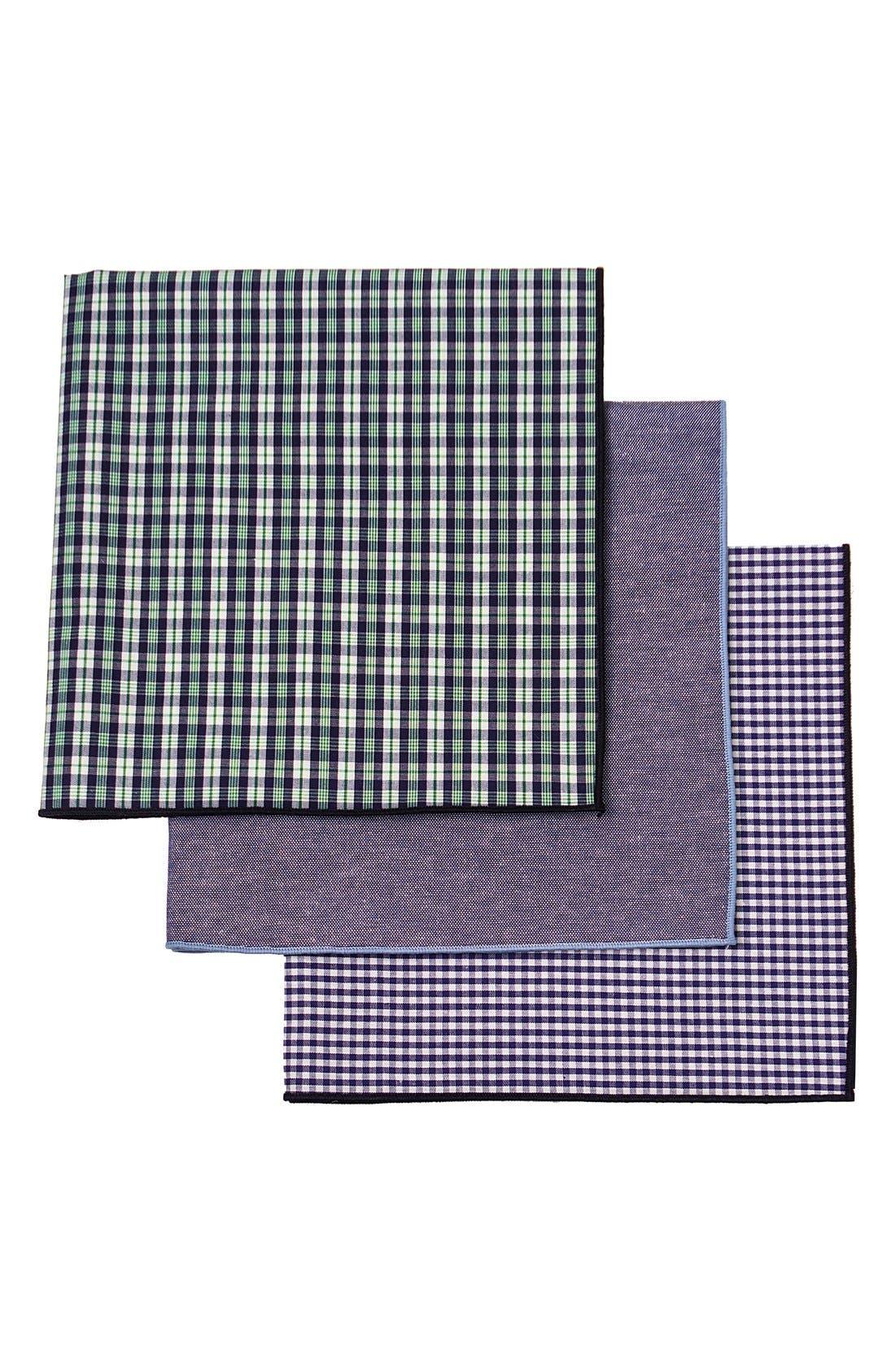 Set of 3 Monogram Pocket Squares,                             Main thumbnail 1, color,                             300