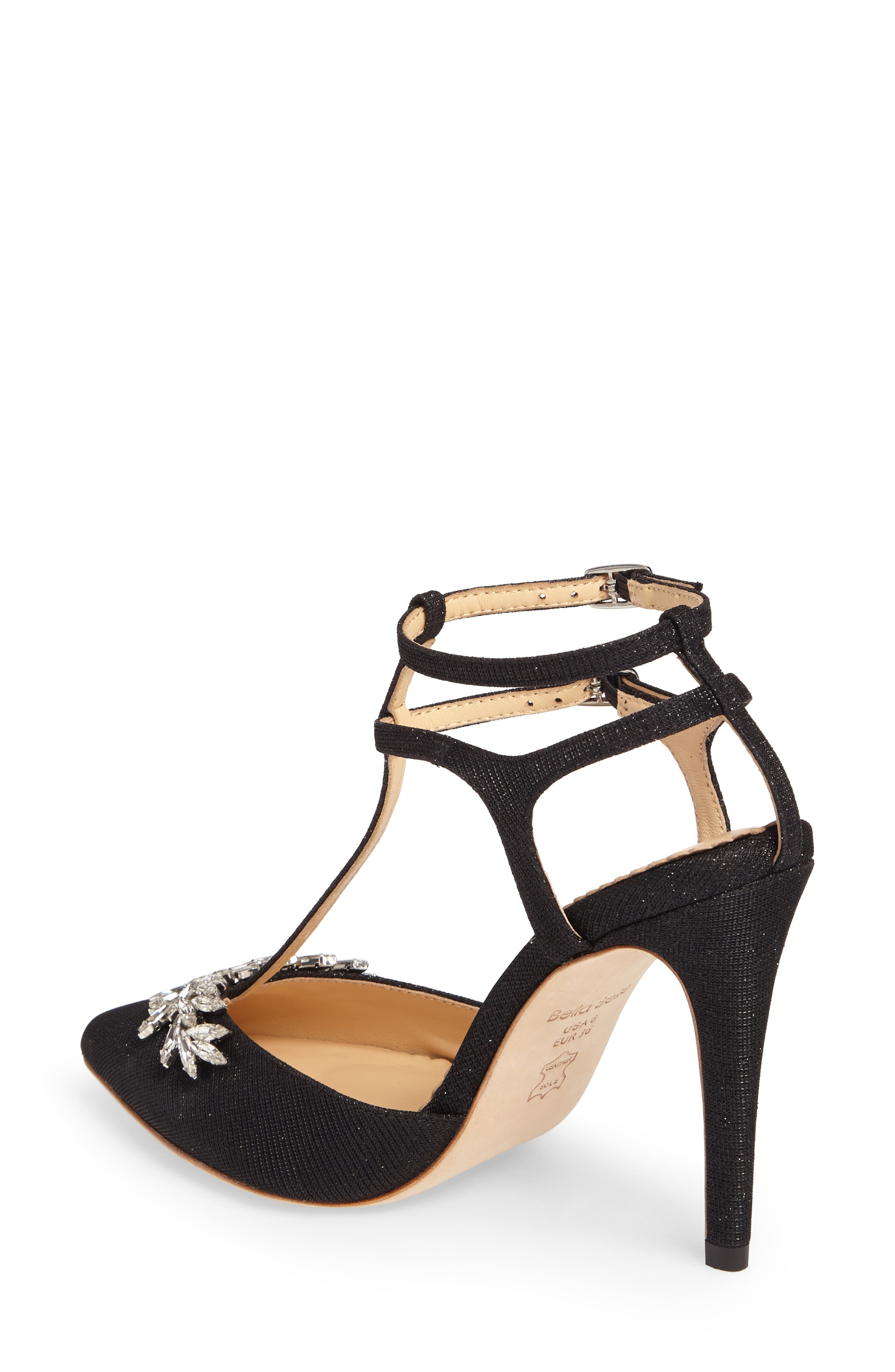 Payge Embellished T-Strap Pump,                             Alternate thumbnail 2, color,                             BLACK FABRIC