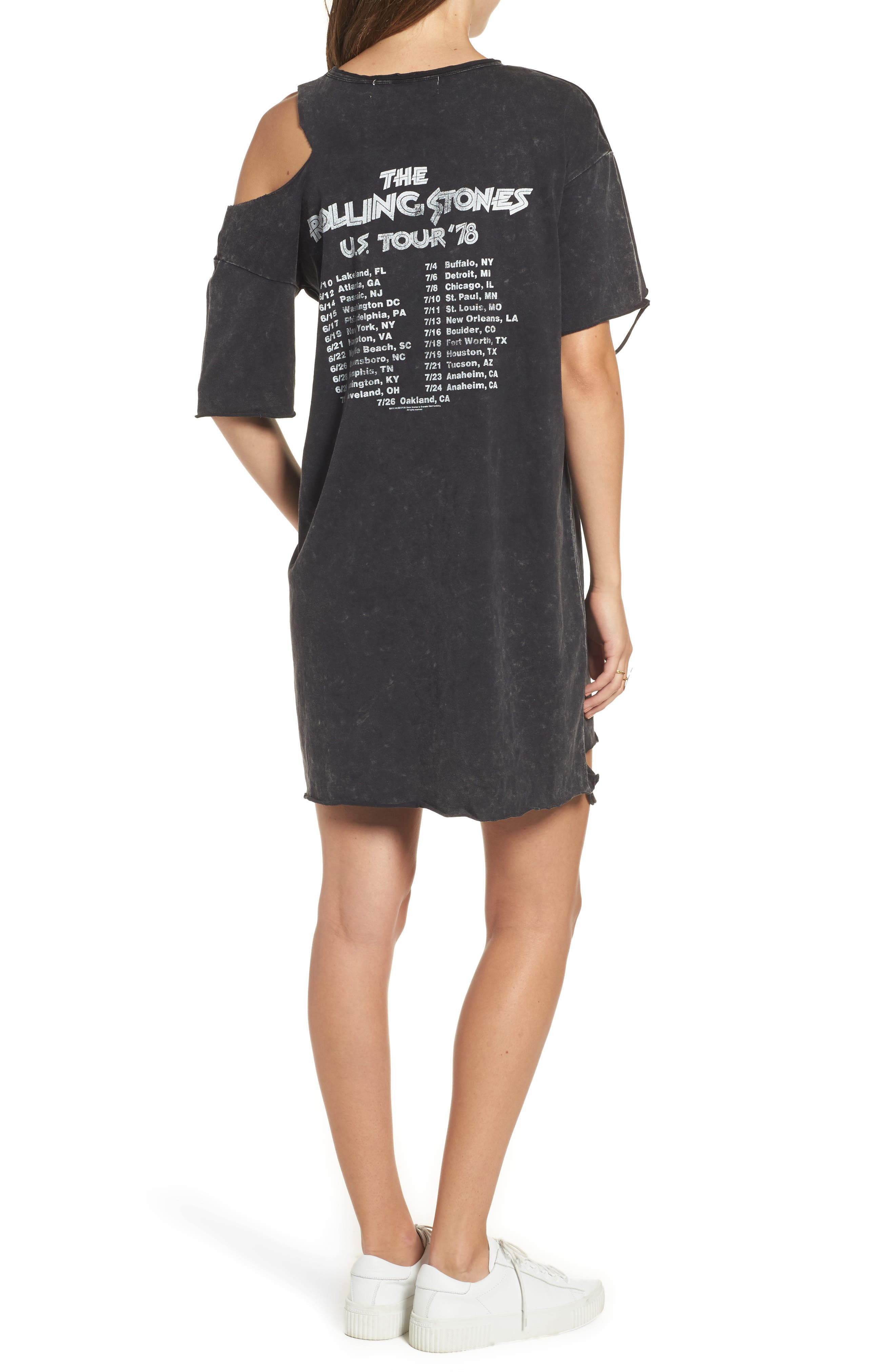 Stones Distressed Band T-Shirt Dress,                             Alternate thumbnail 2, color,                             001