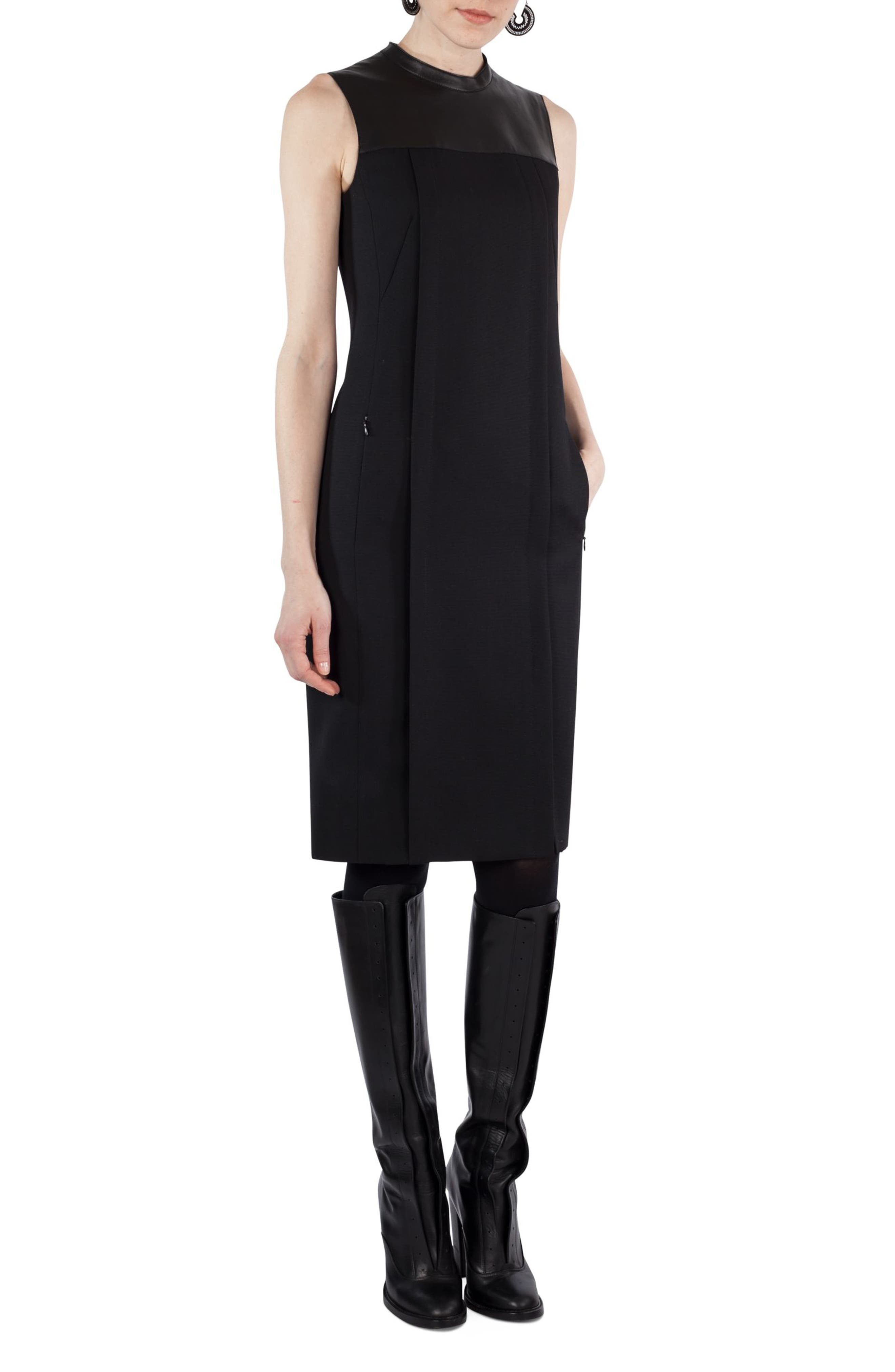 Wool & Leather Shift Dress,                             Alternate thumbnail 3, color,                             009
