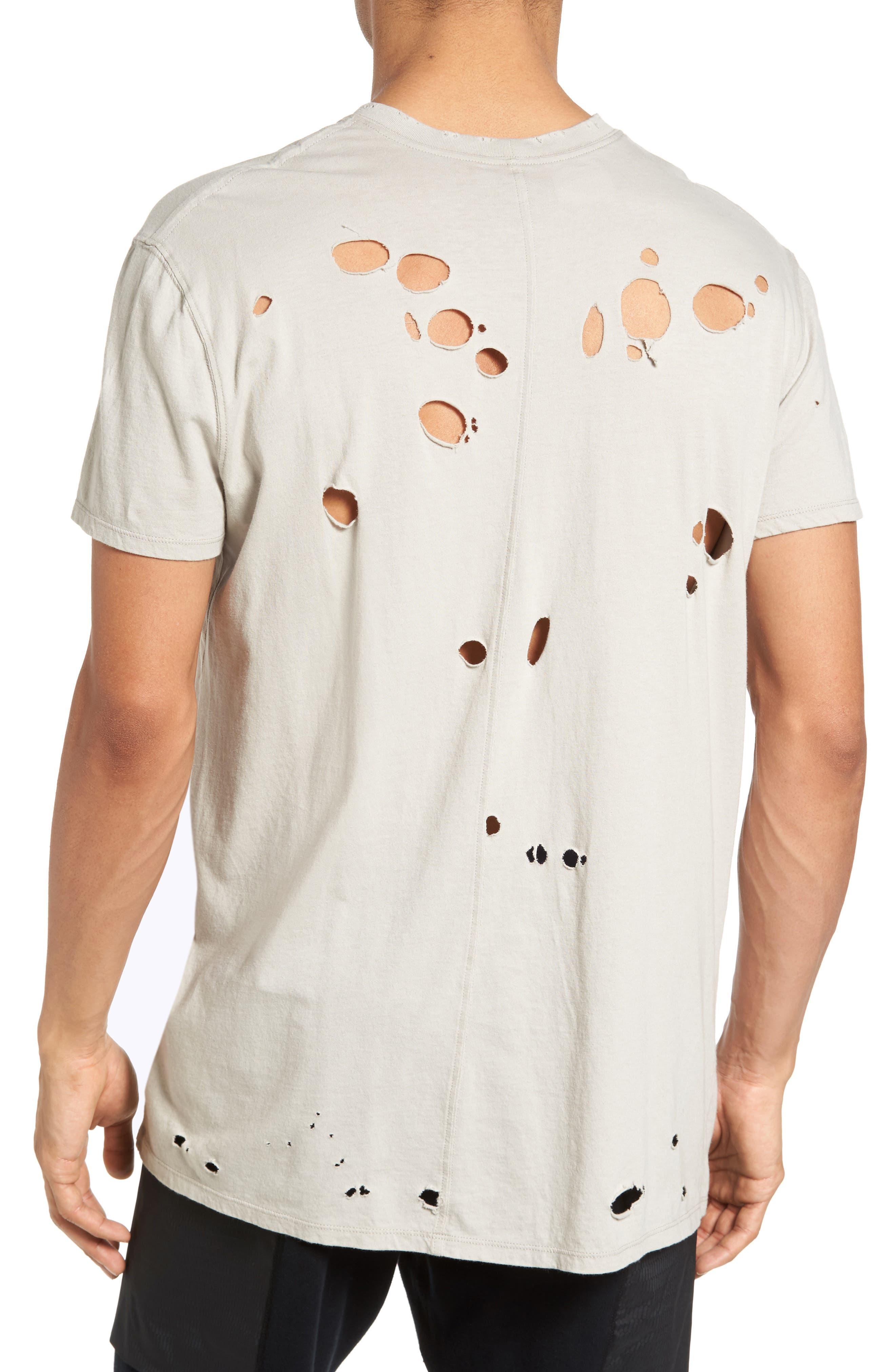 Torn Crewneck T-Shirt,                             Alternate thumbnail 6, color,