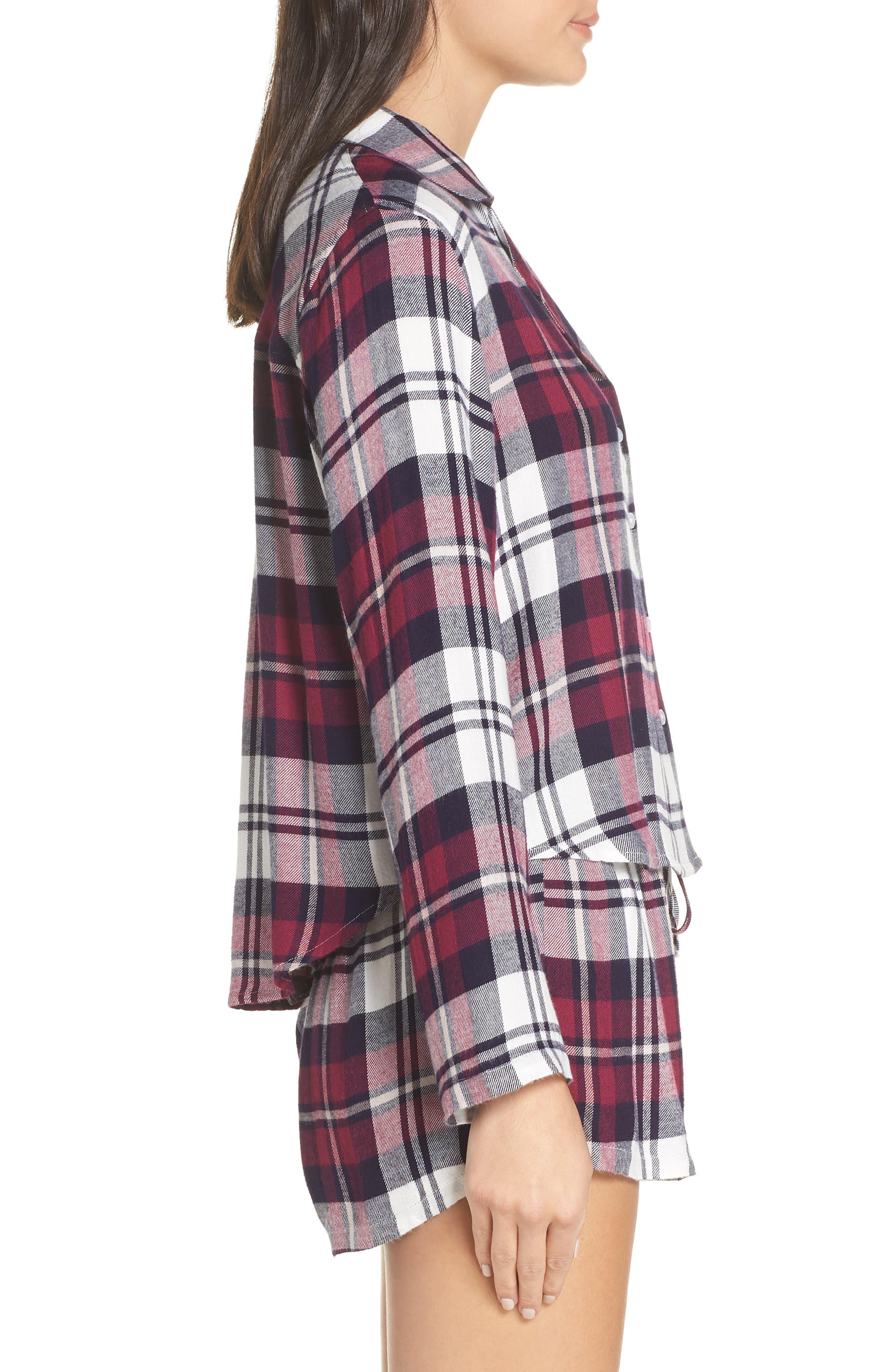 Plaid Short Pajamas,                             Alternate thumbnail 3, color,                             MULBERRY NAVY WHITE