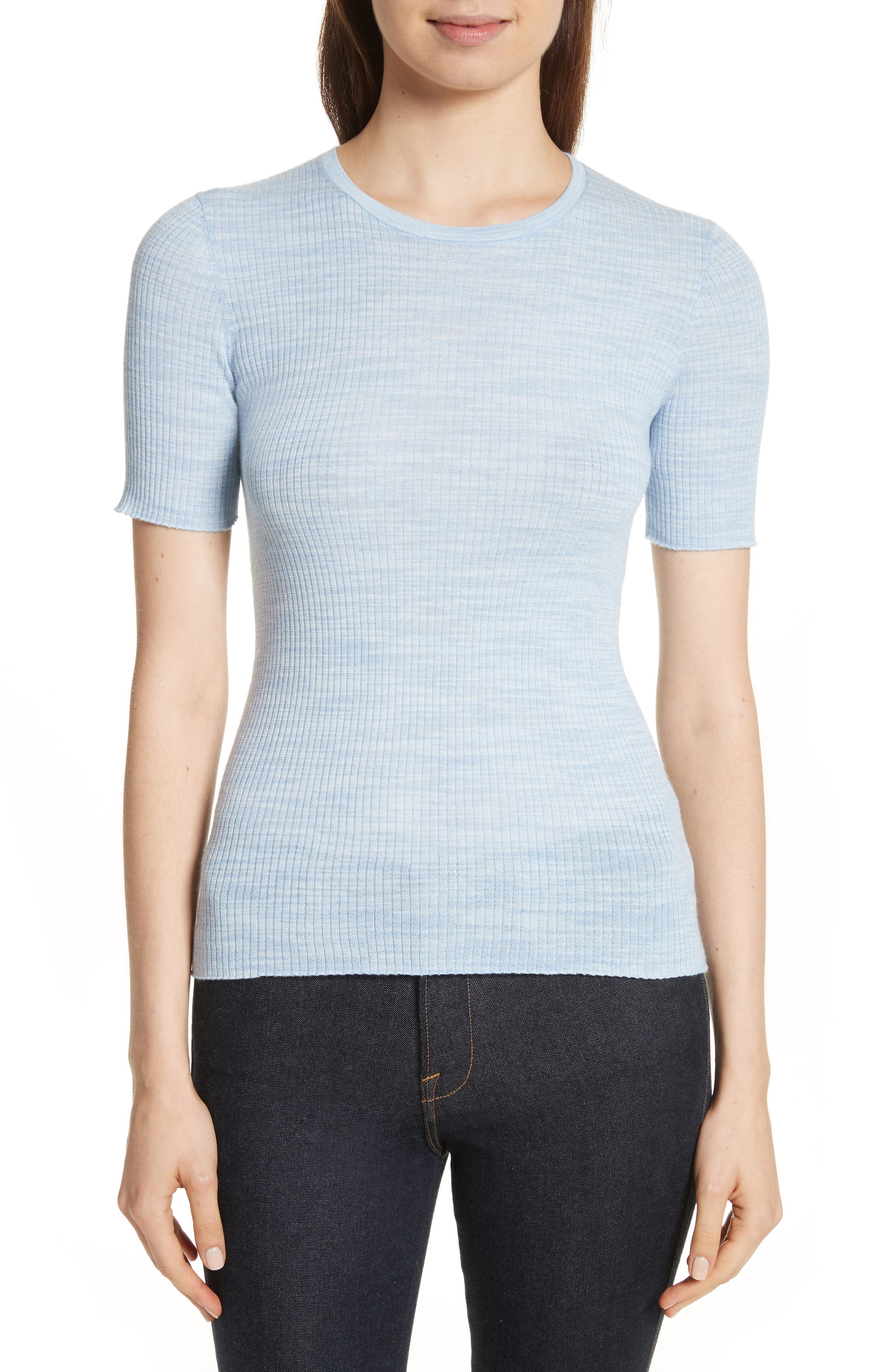 Fitted Merino Wool Blend Sweater,                             Main thumbnail 1, color,                             430