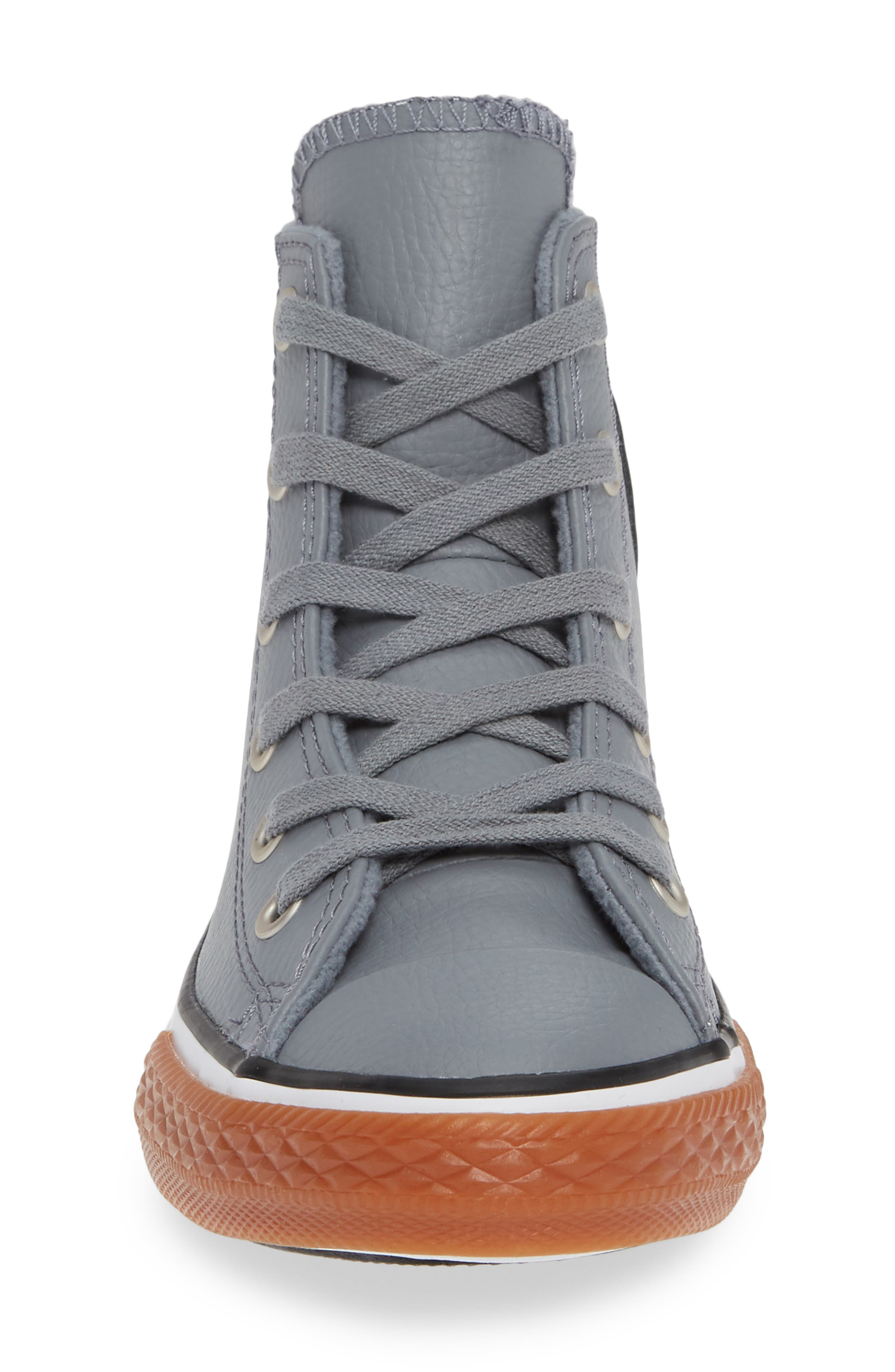 Chuck Taylor<sup>®</sup> All Star<sup>®</sup> No Gum In Class Leather High Top Sneaker,                             Alternate thumbnail 4, color,                             COOL GREY