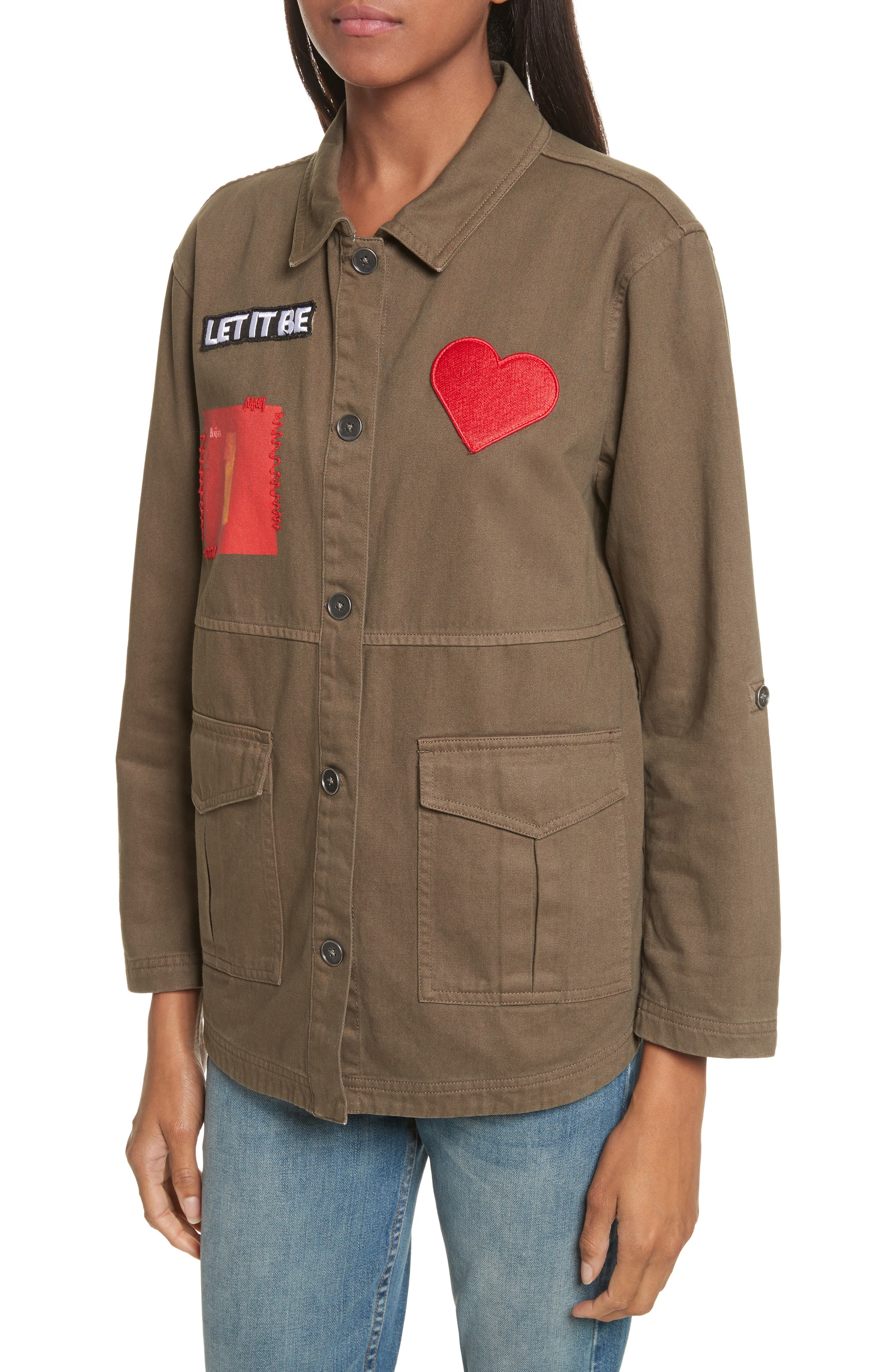 AO x The Beatles Charline Oversize Patch Military Jacket,                             Alternate thumbnail 4, color,                             315