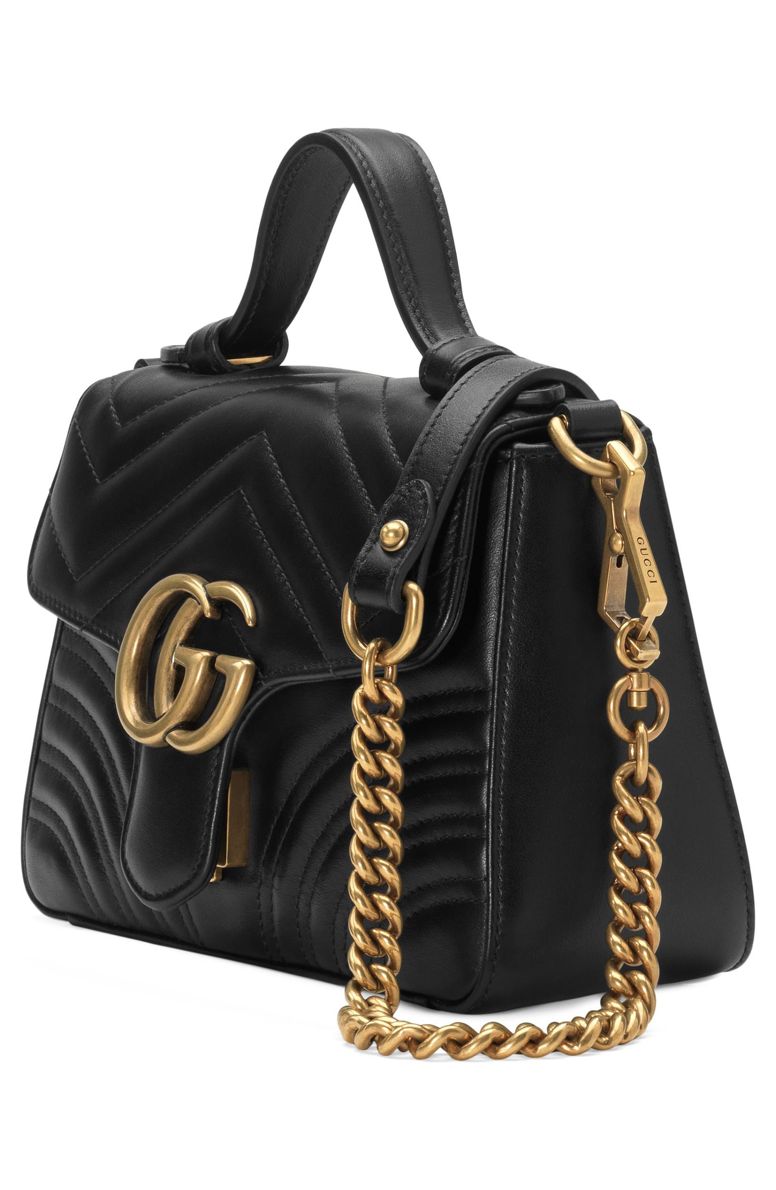 Marmont 2.0 Leather Top Handle Bag,                             Alternate thumbnail 4, color,                             NERO