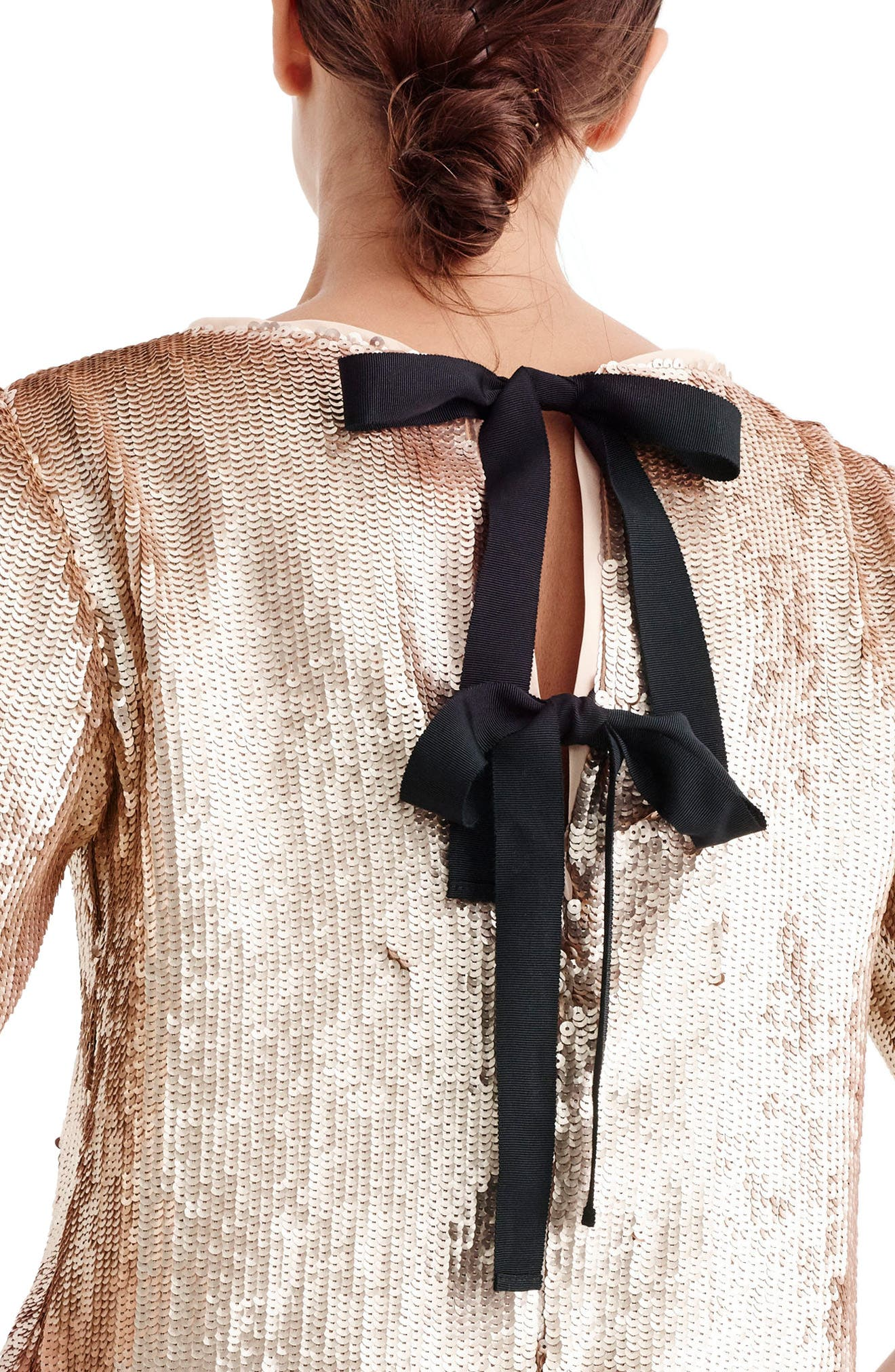 Rose Gold Sequin Crop Top,                             Alternate thumbnail 2, color,                             ROSE GOLD