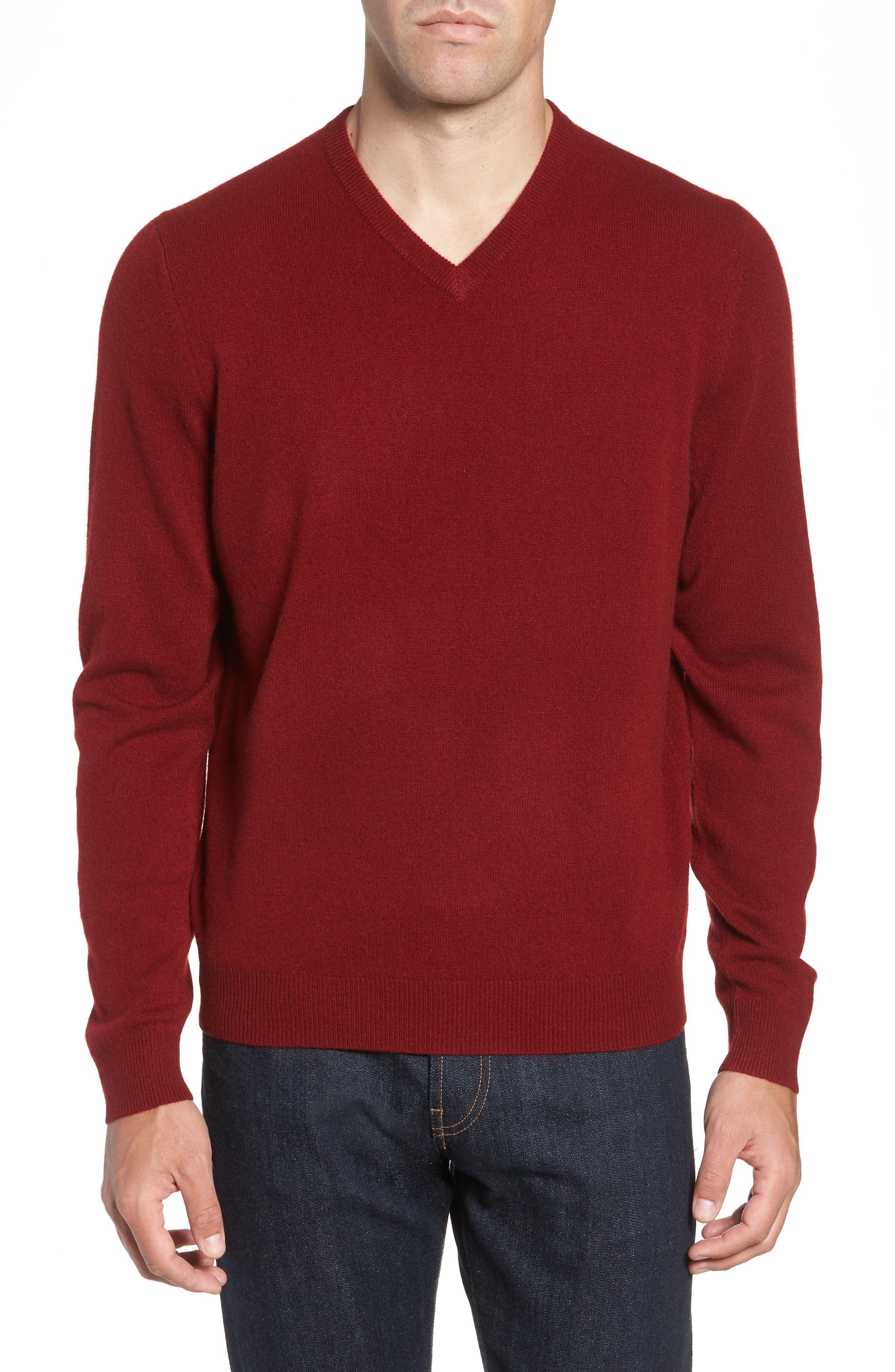Nordstrom Shop Cashmere V-Neck Sweater, Red