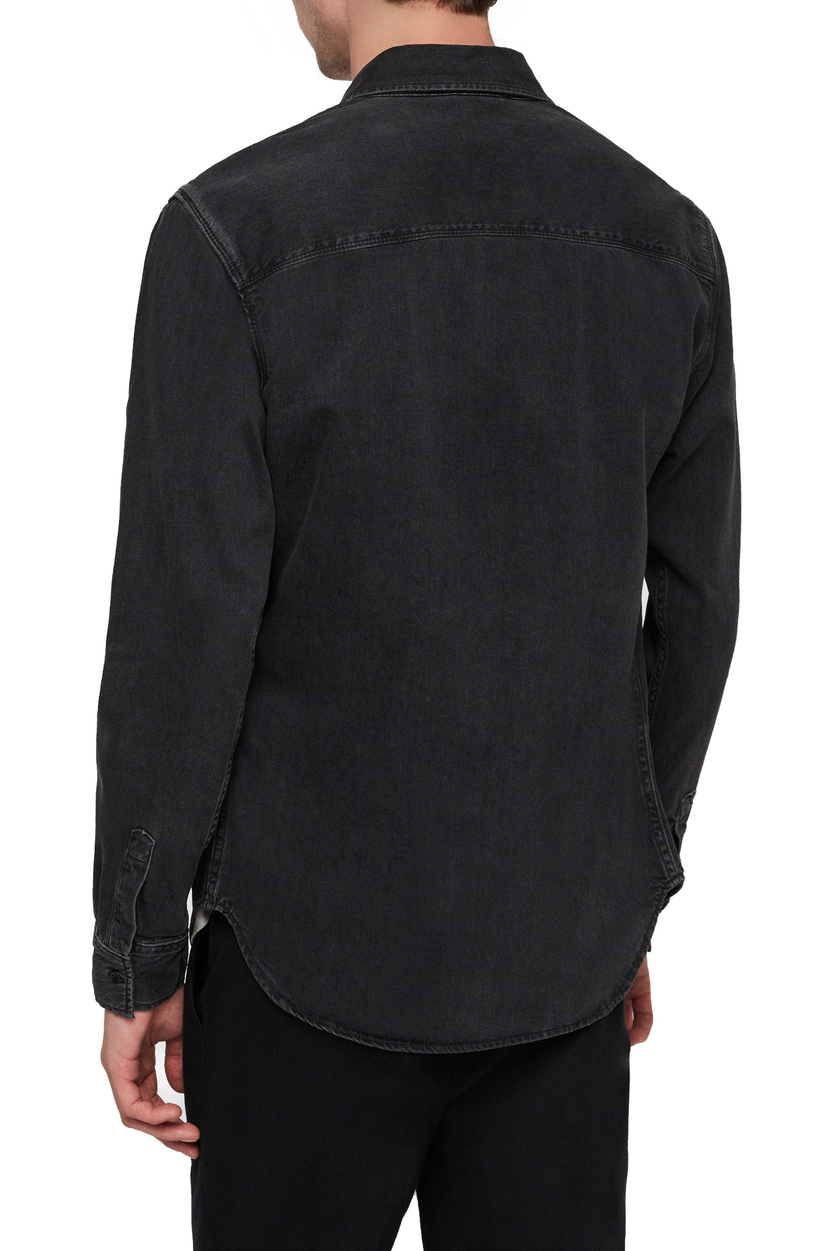Brenner Denim Slim Fit Sport Shirt,                             Alternate thumbnail 3, color,                             BLACK