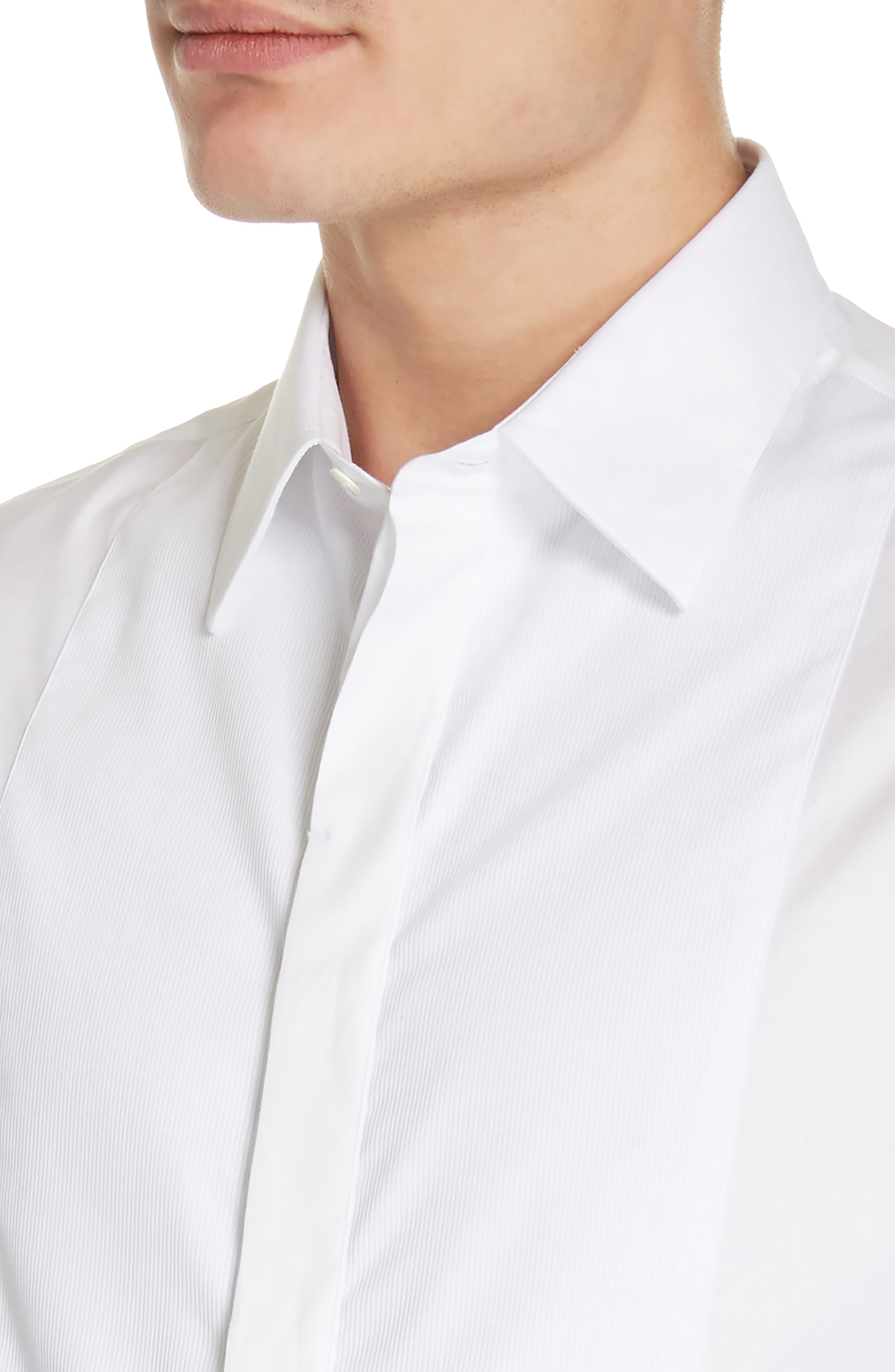 Trim Fit Stretch Tuxedo Shirt,                             Alternate thumbnail 2, color,                             SOLID WHITE