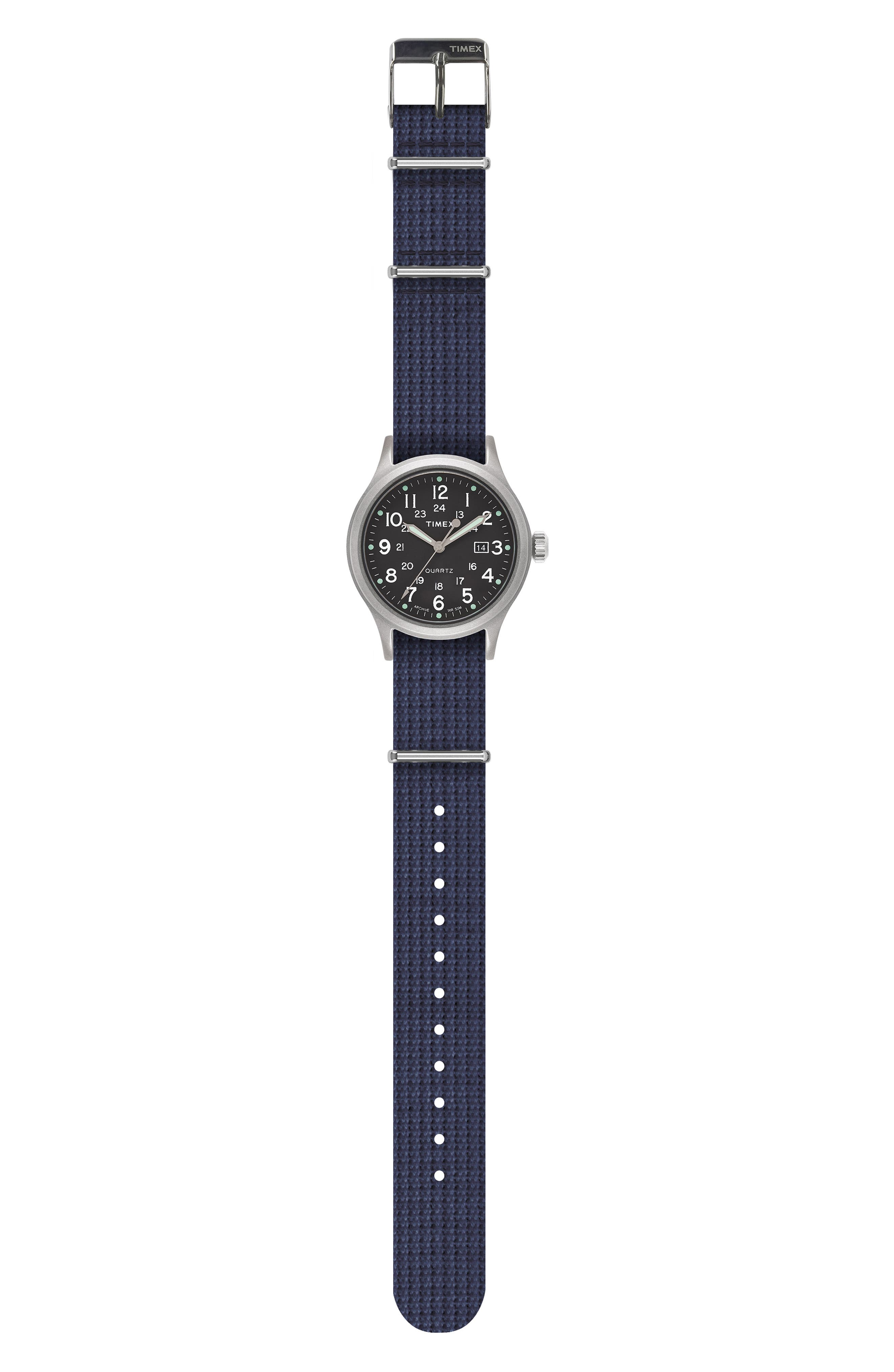 Allied NATO Strap Watch, 40mm,                             Alternate thumbnail 2, color,                             SILVER/ GREEN/ BLUE