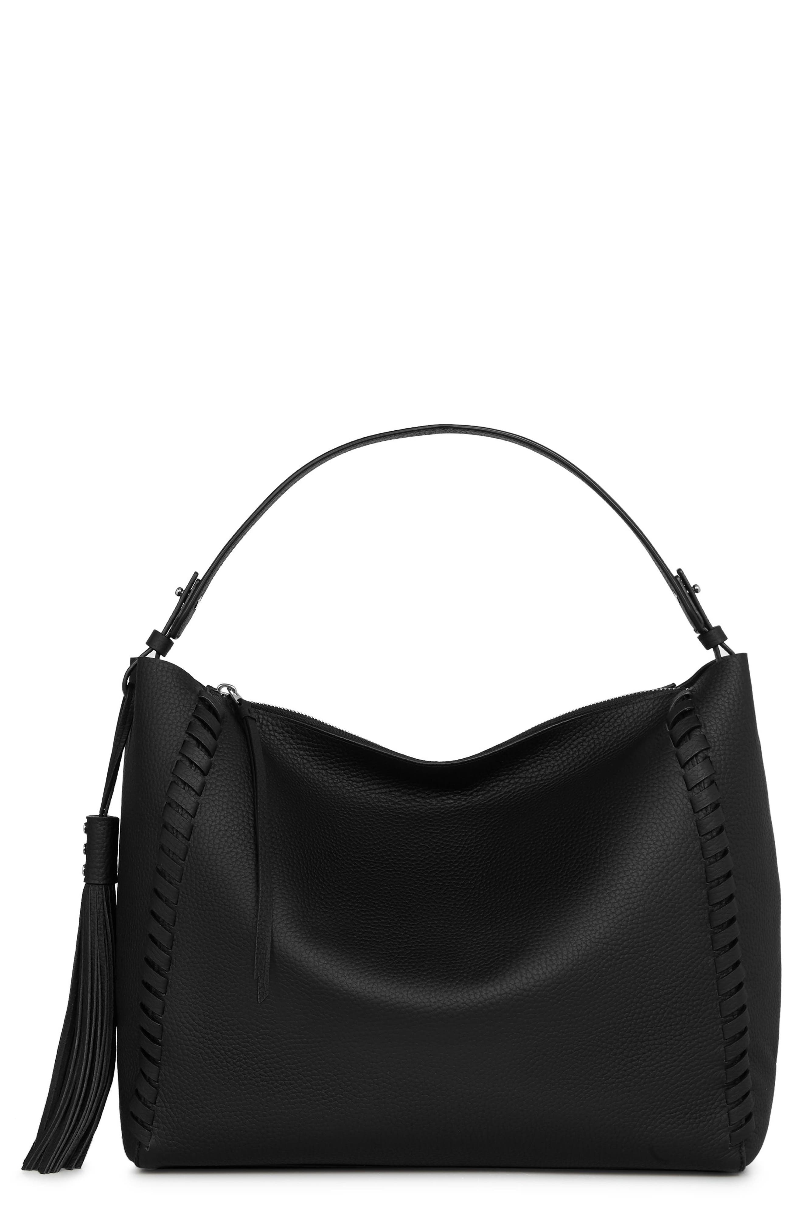 Kepi East/West Leather Tote,                         Main,                         color, BLACK