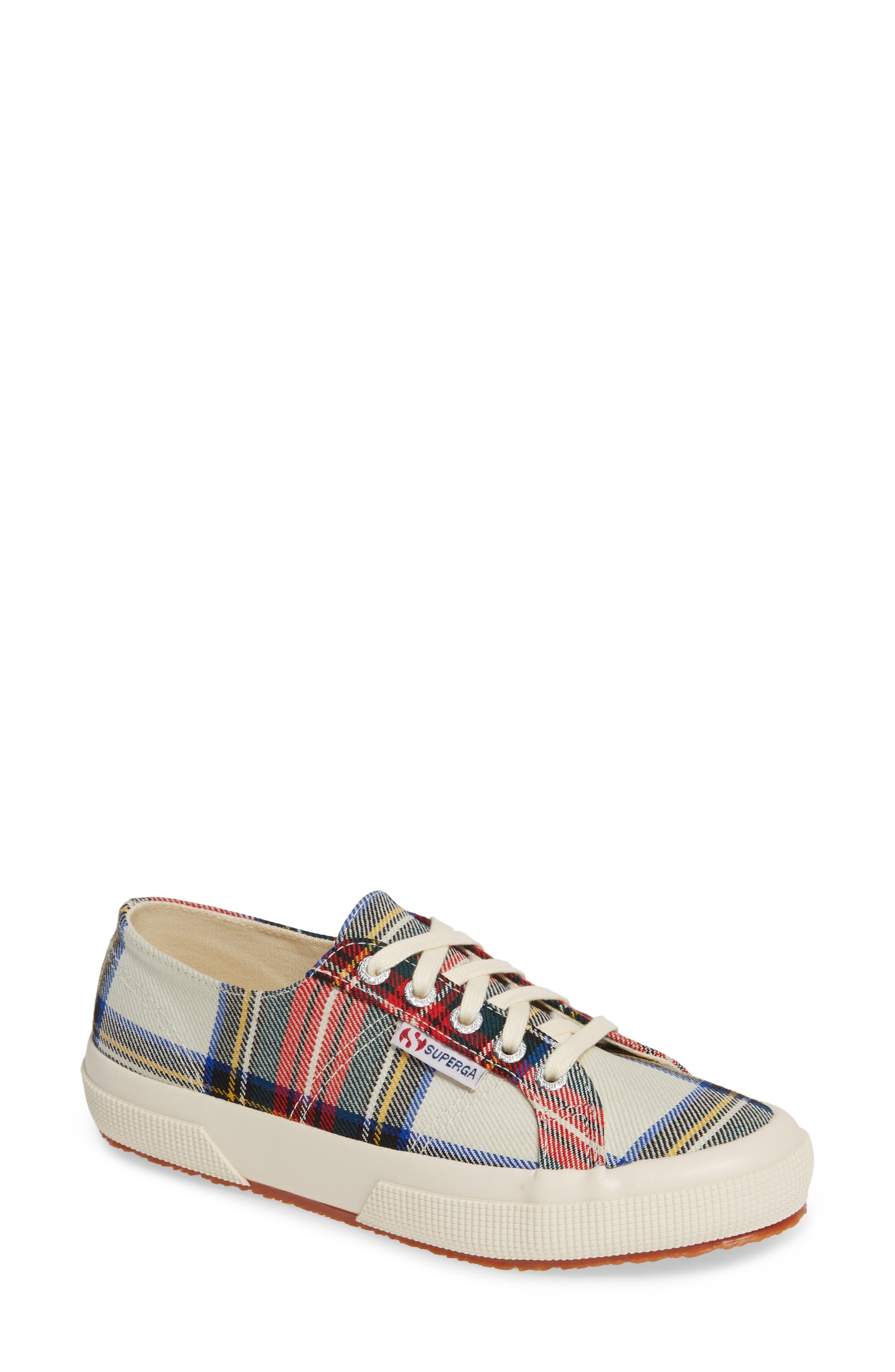 Tartan Print Sneaker,                         Main,                         color, RED MULTI