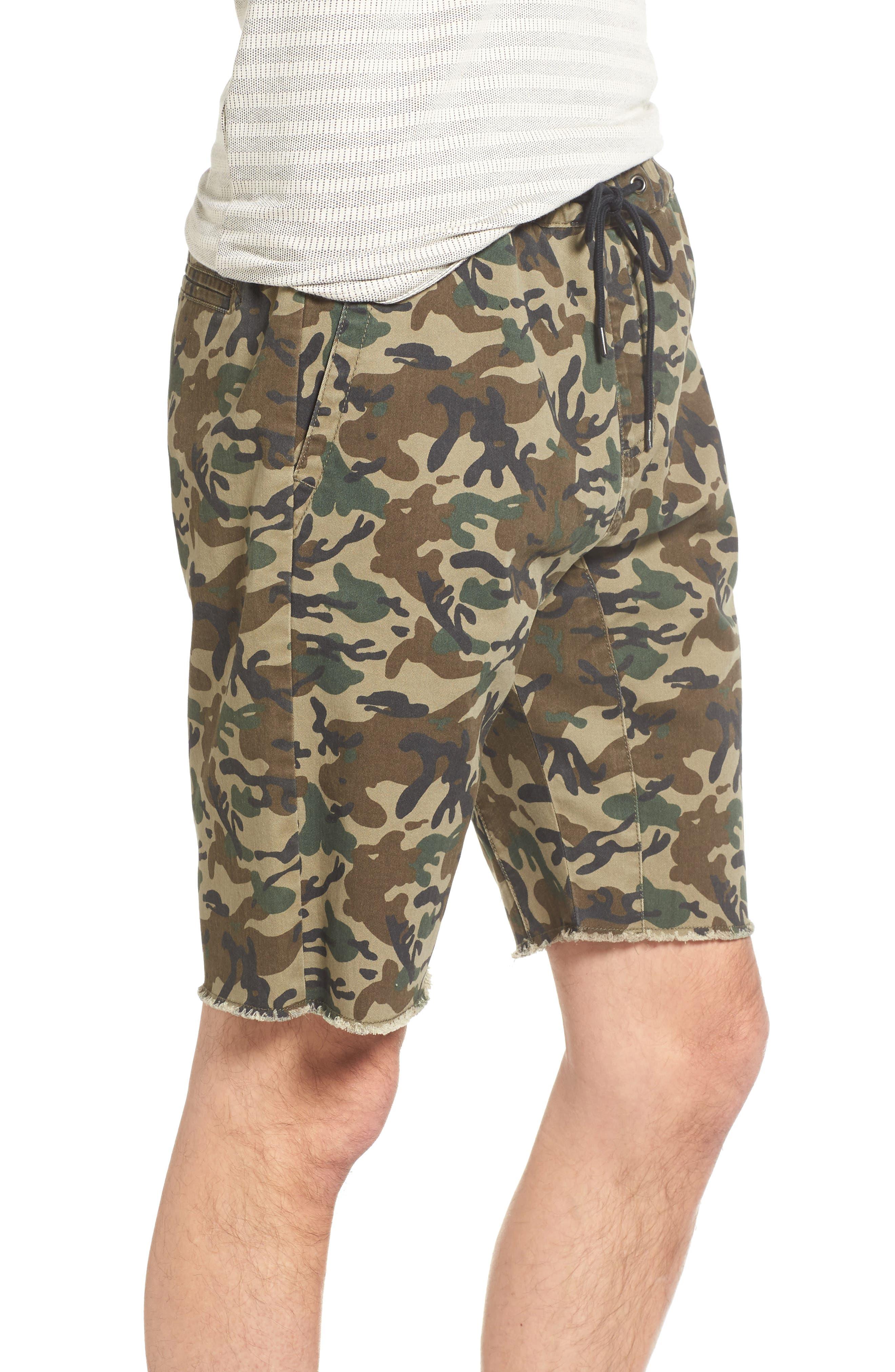 Camo Print Cutoff Twill Shorts,                             Alternate thumbnail 6, color,