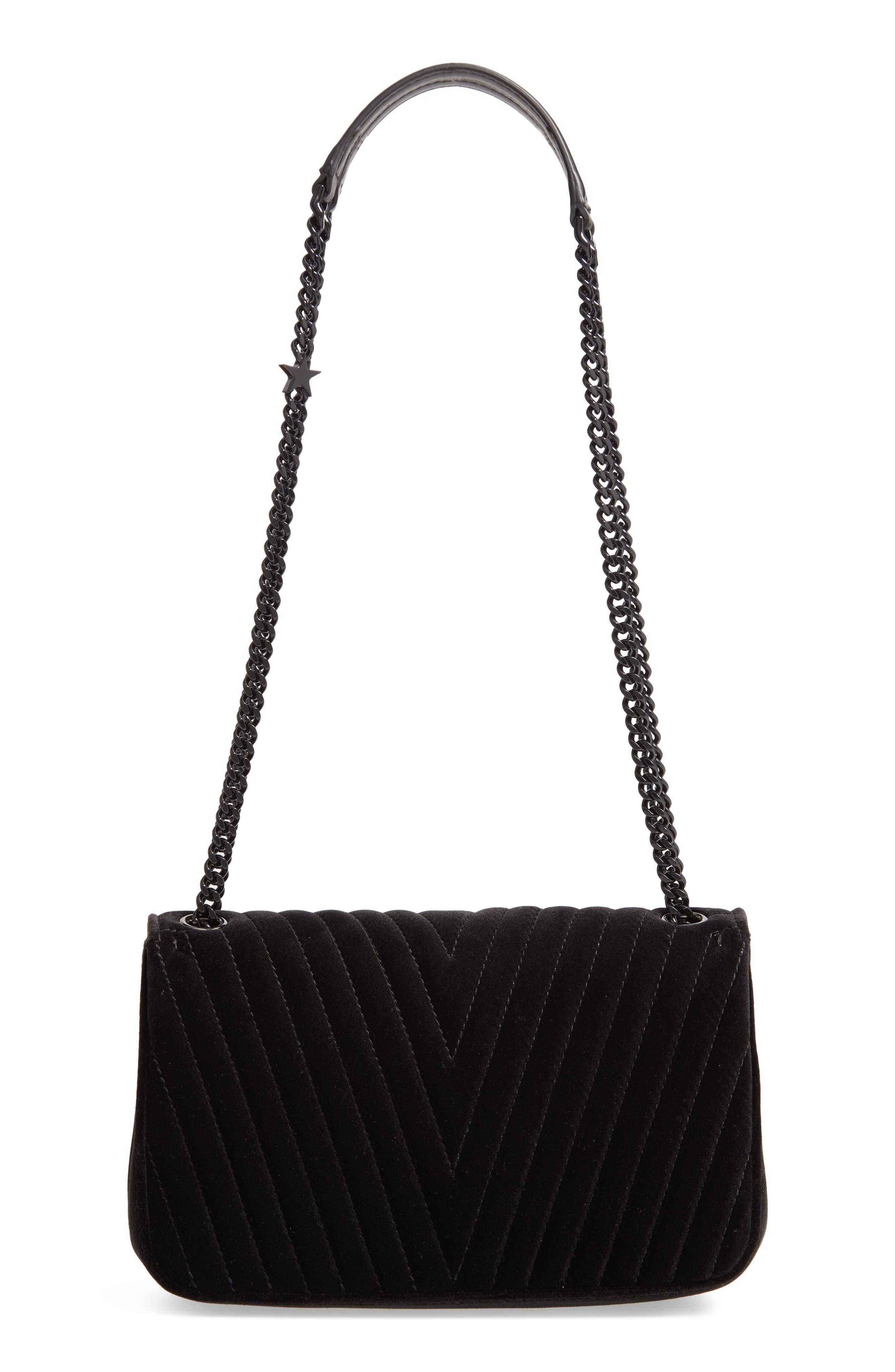 Medium Velvet Star Shoulder Bag,                             Alternate thumbnail 3, color,                             BLACK