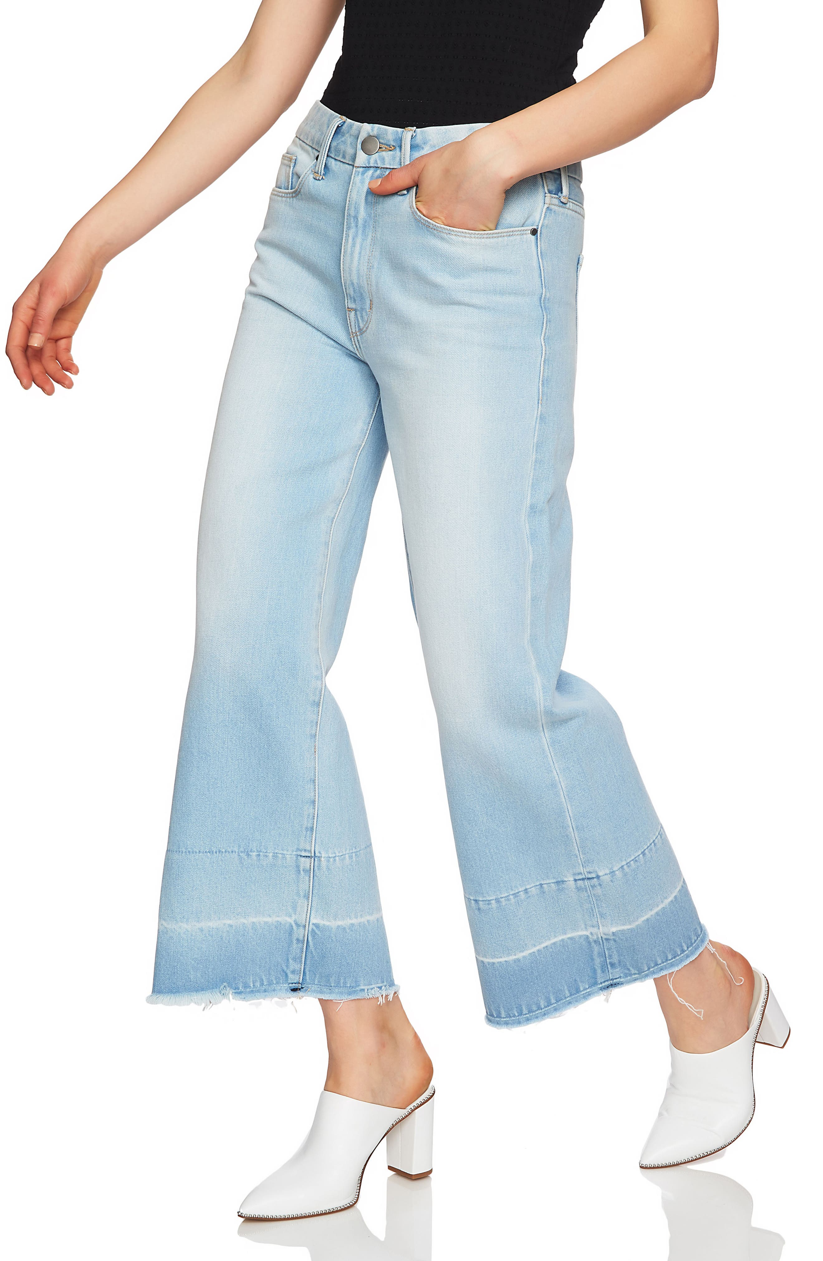 Released Hem Wide Leg Jeans,                             Alternate thumbnail 4, color,                             434