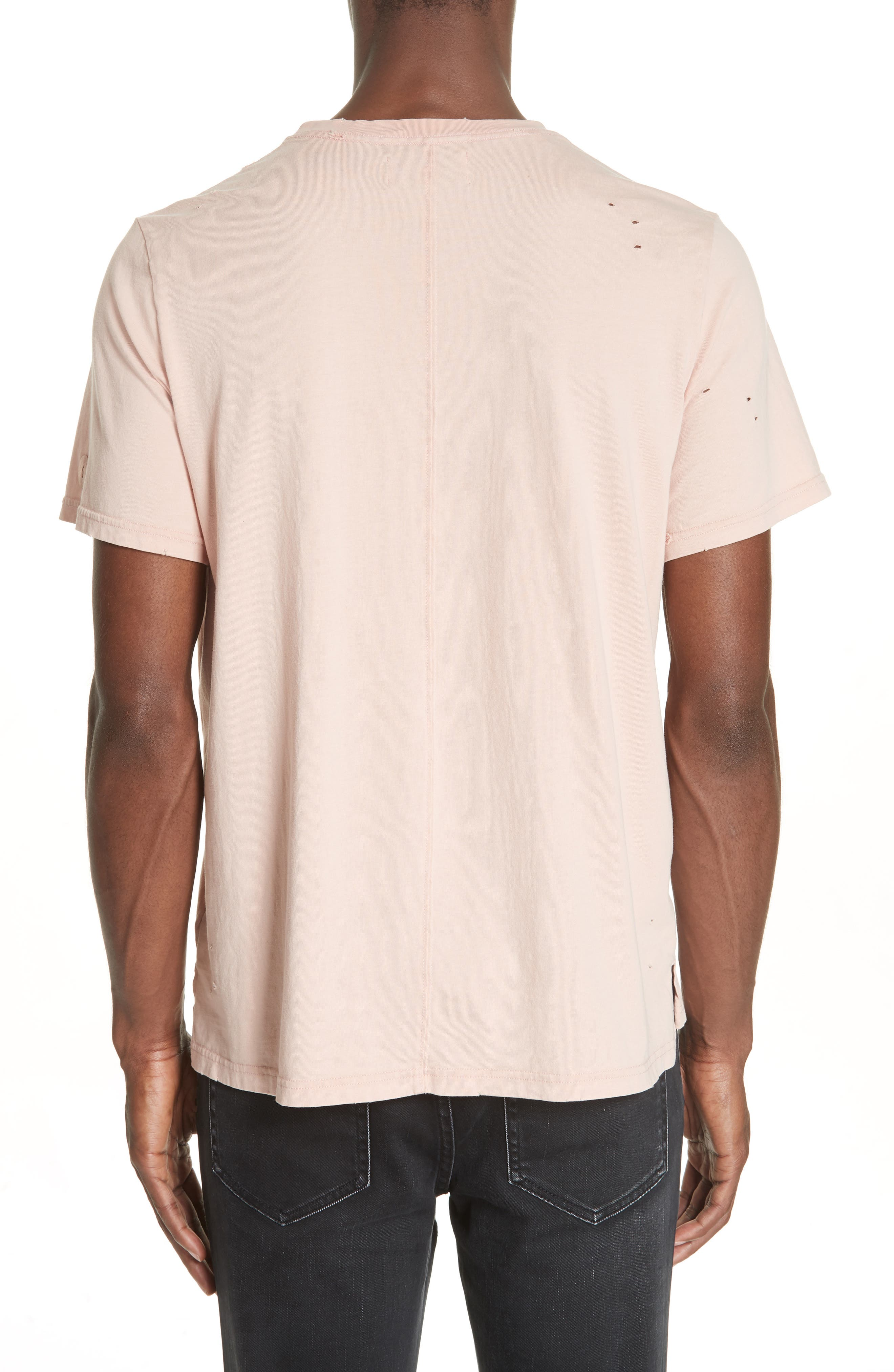 Distressed Crewneck T-Shirt,                             Alternate thumbnail 2, color,                             SALMON