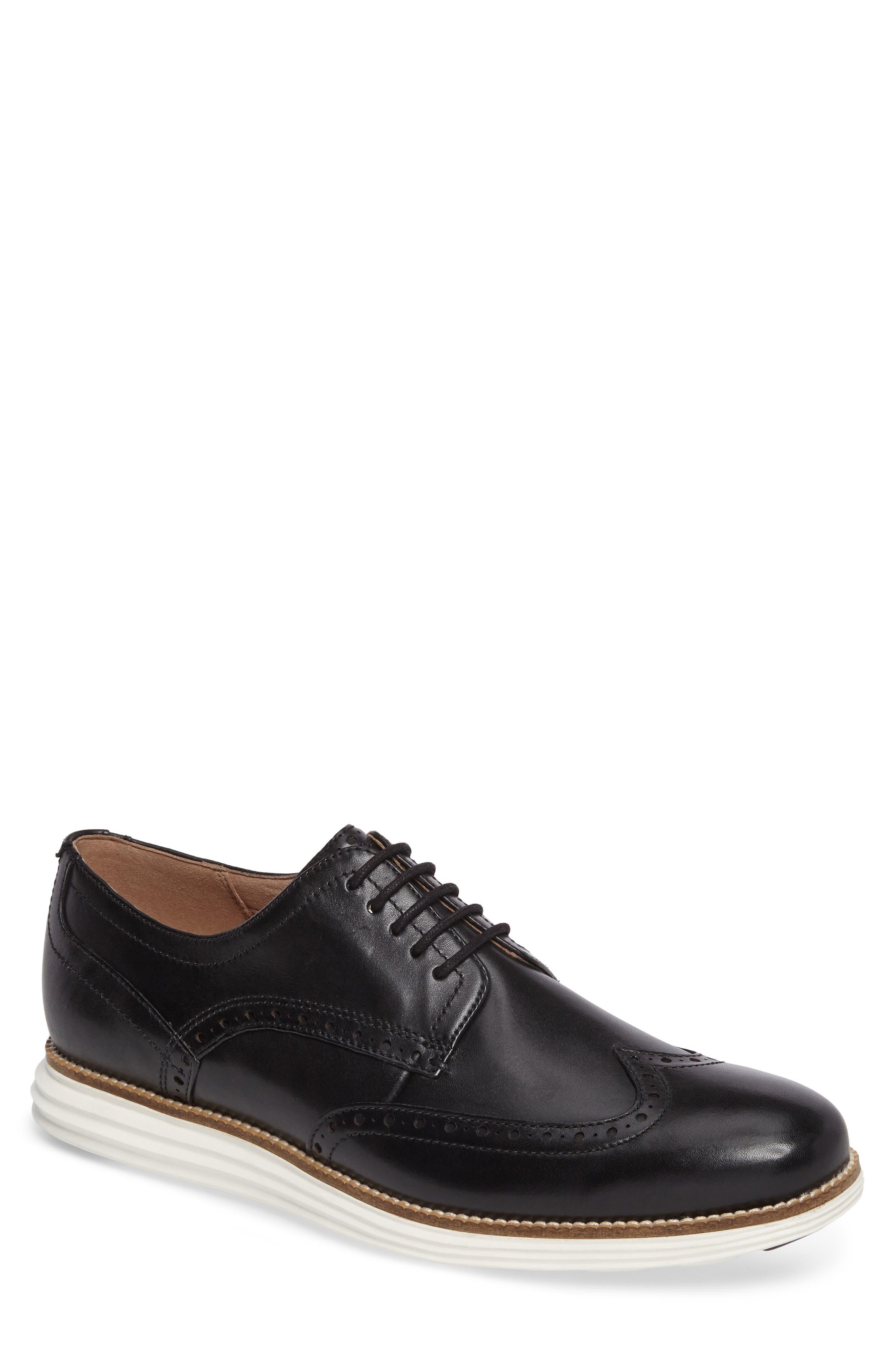 Men'S Original Grand Leather Wing-Tip Oxfords, Black in Black/White