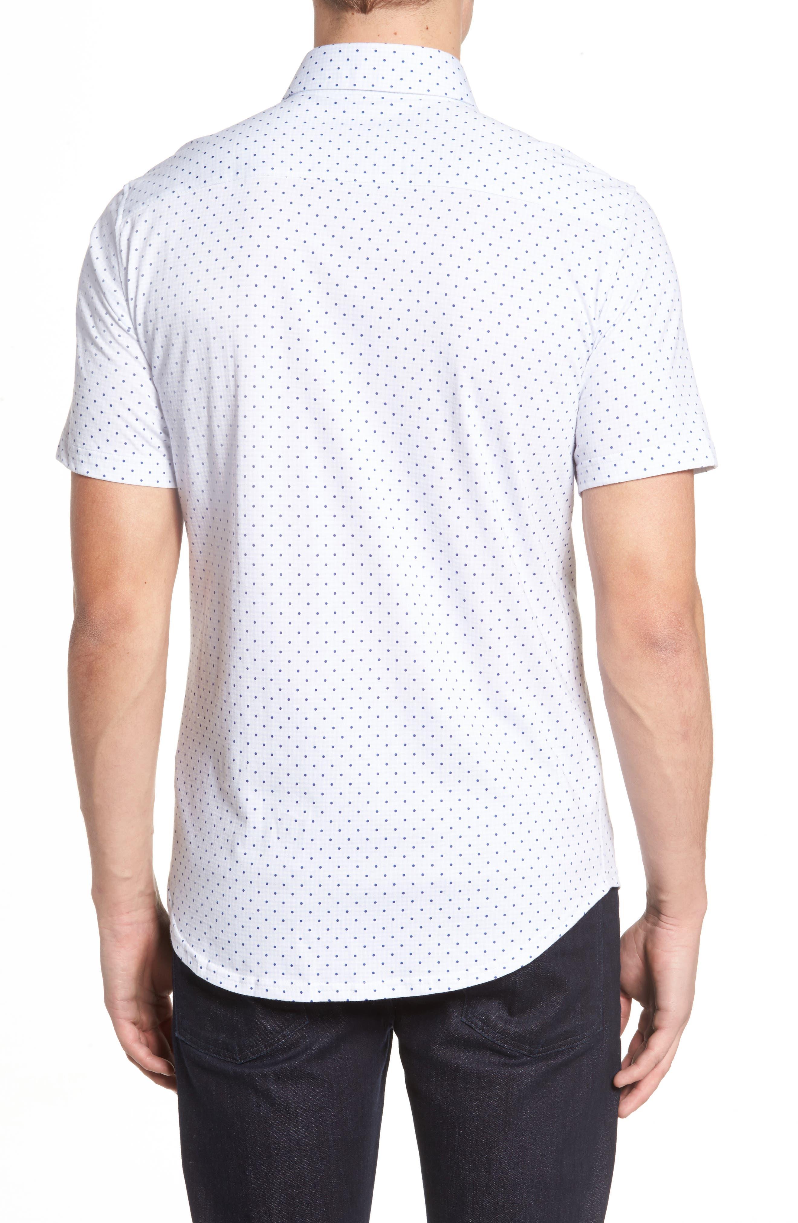 Trim Fit Polka Dot Check Sport Shirt,                             Alternate thumbnail 2, color,                             020