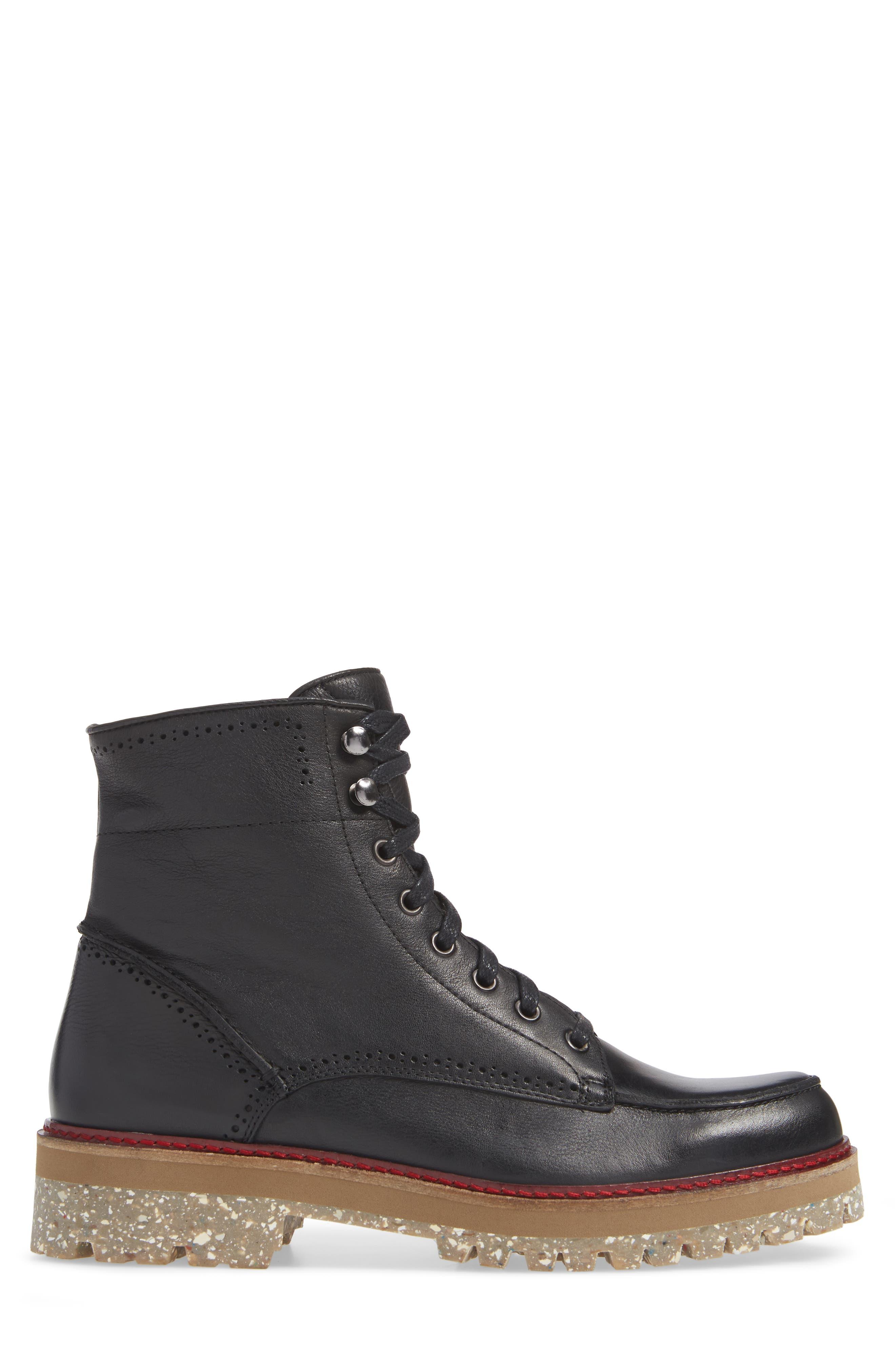 Larz Lugged Moc Toe Boot,                             Alternate thumbnail 3, color,                             BLACK