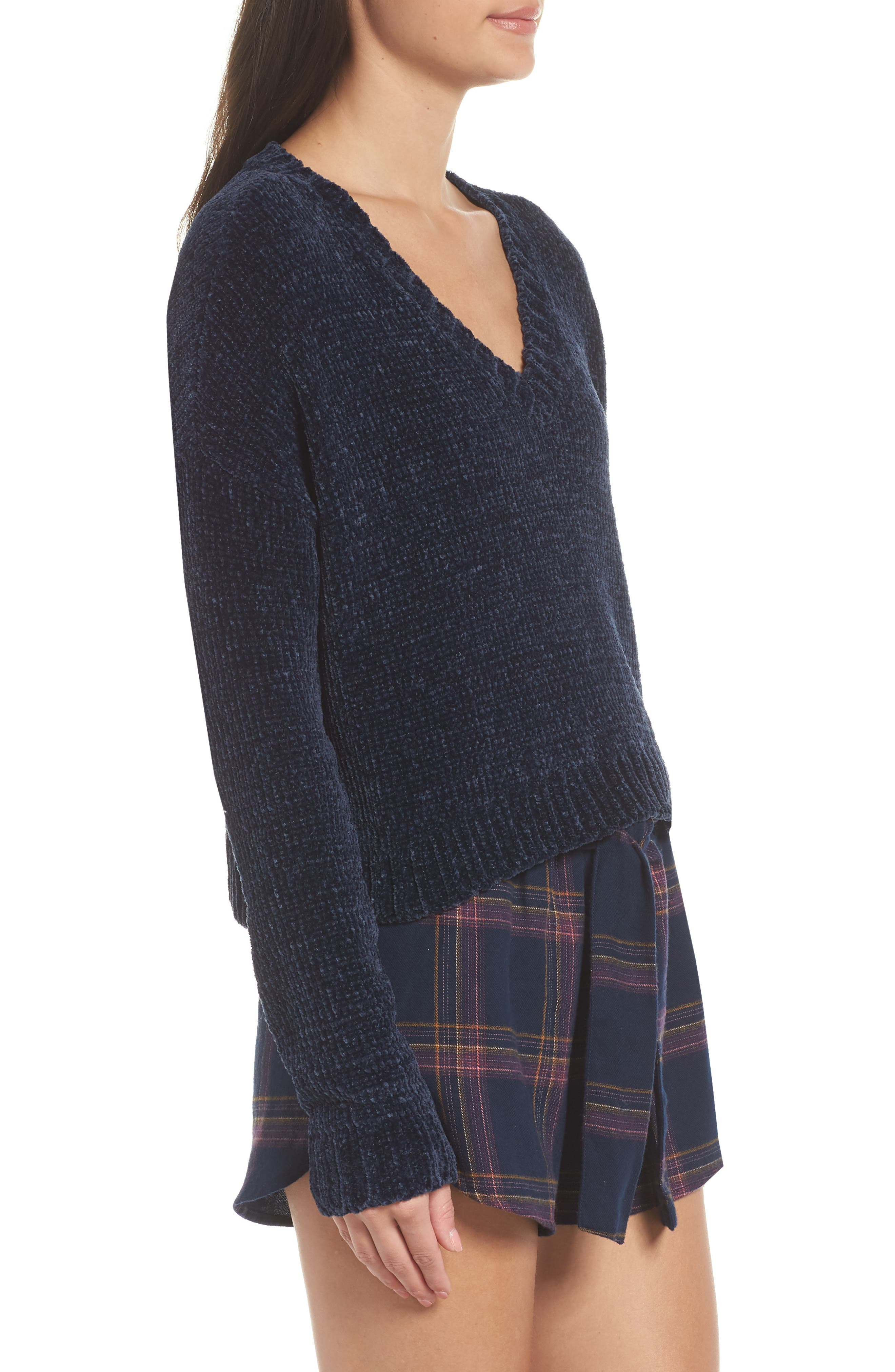 Crop Chenille Sweater,                             Alternate thumbnail 3, color,                             410