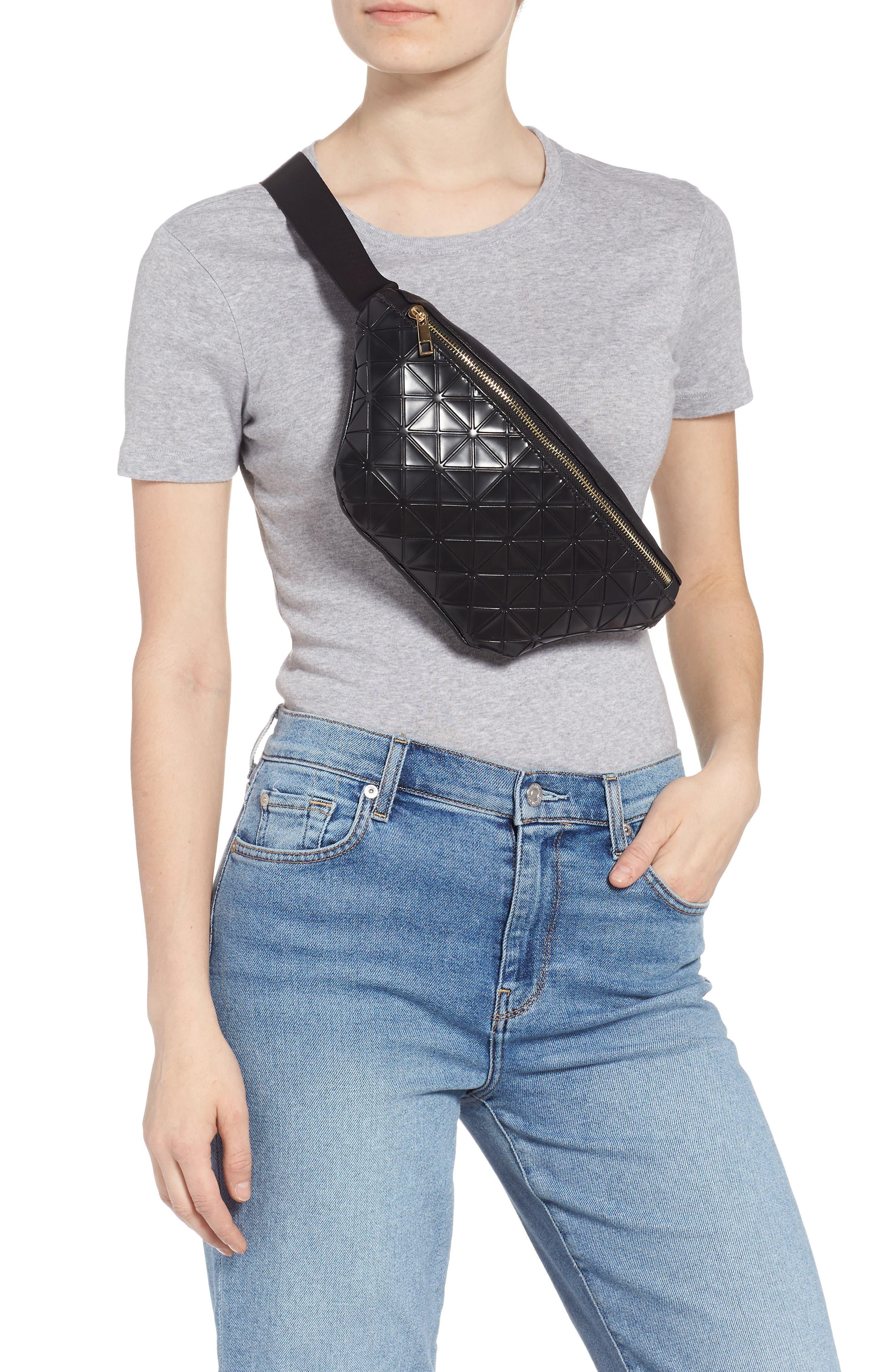 Geometric Detail Faux Leather Belt Bag,                             Alternate thumbnail 3, color,                             BLACK