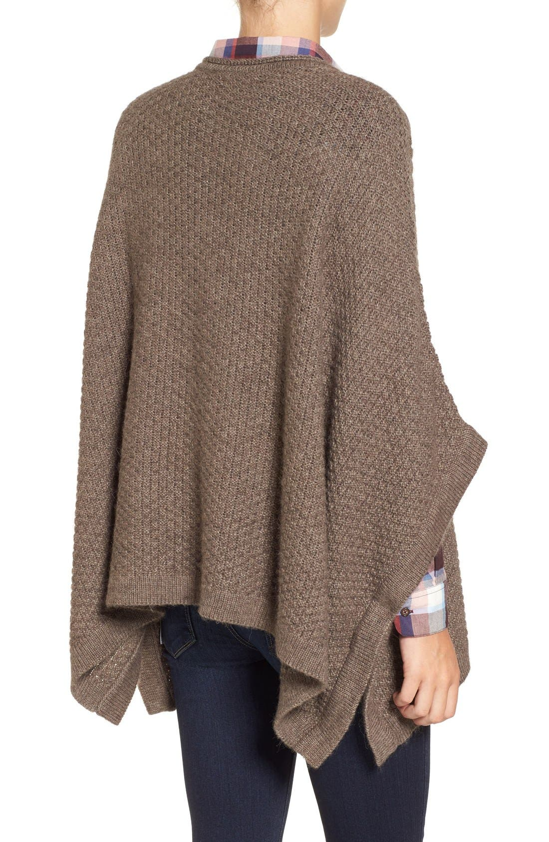 'Clover' Cable Knit Poncho,                             Alternate thumbnail 4, color,                             270