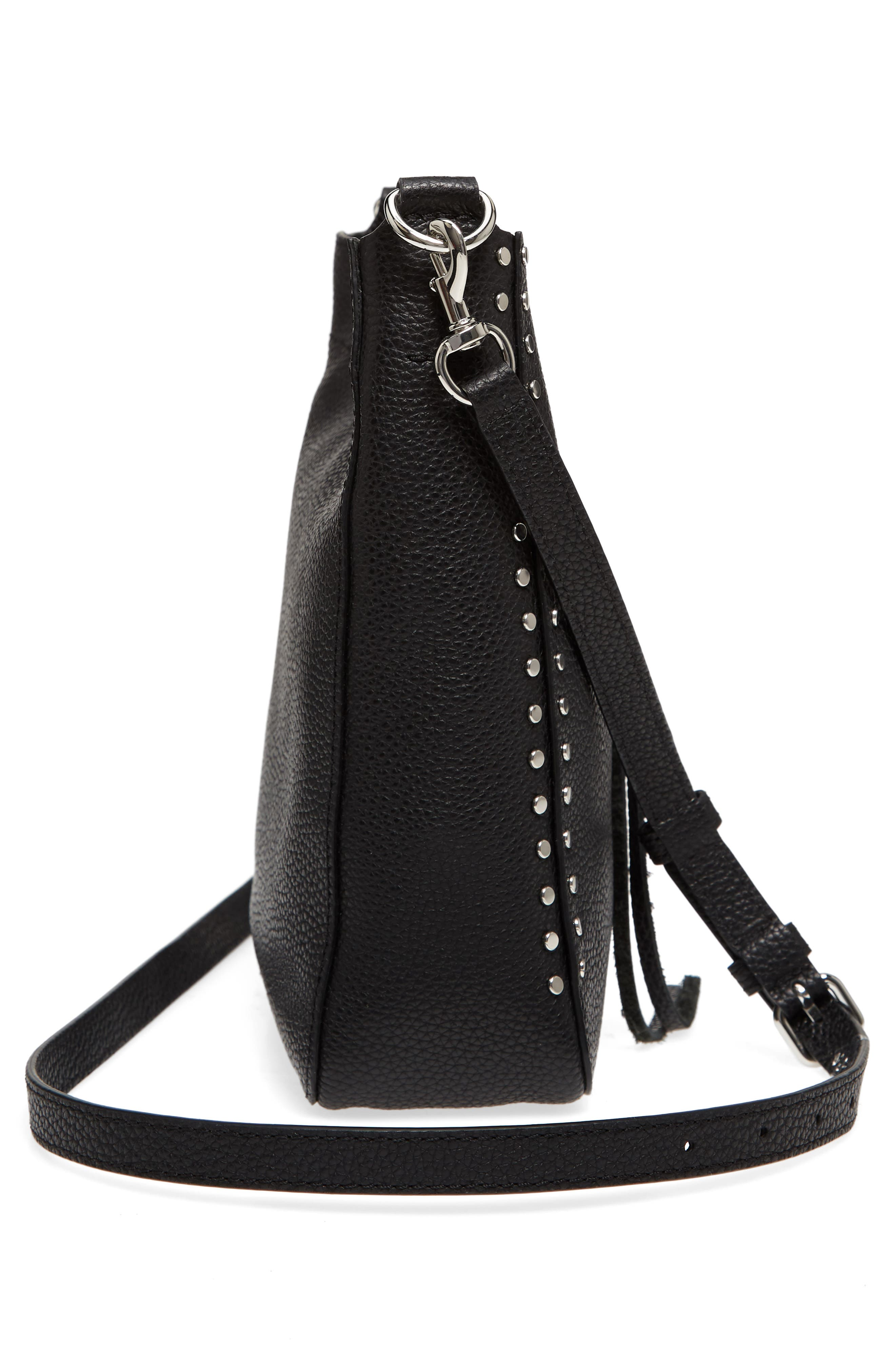 Small Darren Leather Feed Bag,                             Alternate thumbnail 5, color,                             BLACK