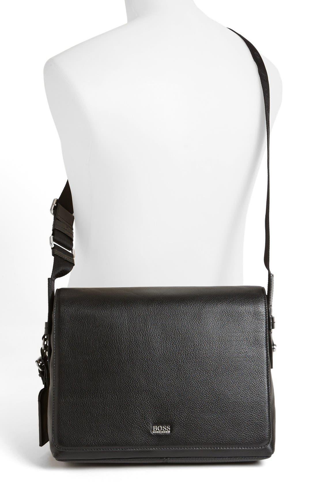 HUGO BOSS 'Barter' Leather Messenger Bag,                             Alternate thumbnail 4, color,                             001