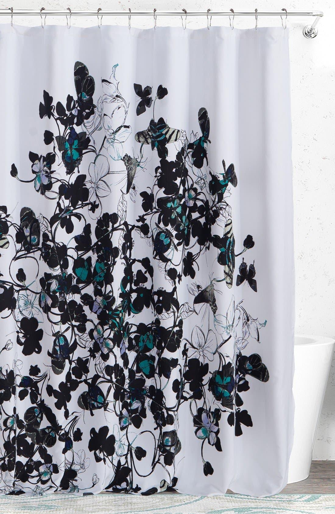'Abby' Shower Curtain,                             Main thumbnail 1, color,                             BLACK MULTI