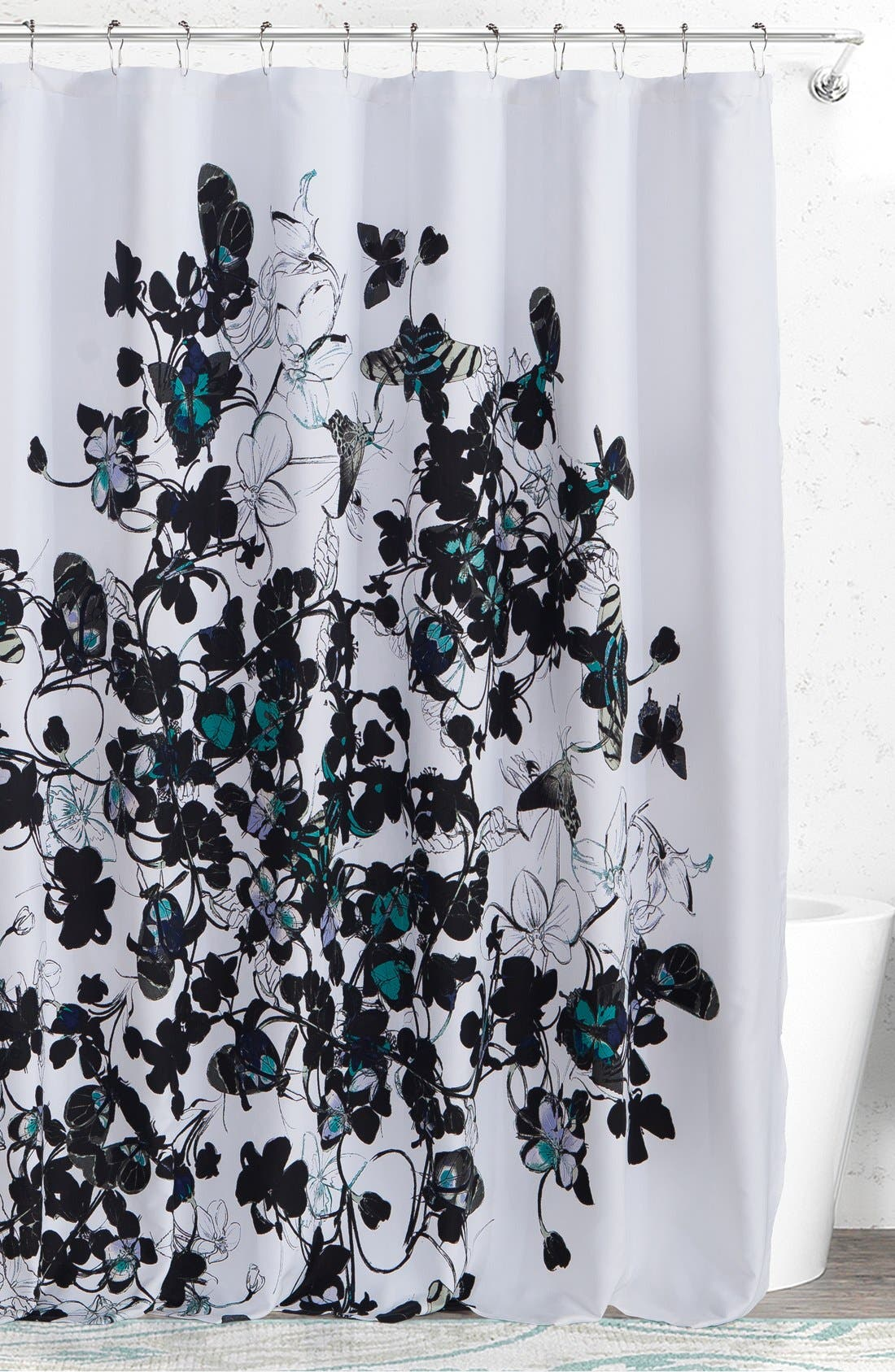 'Abby' Shower Curtain,                         Main,                         color, BLACK MULTI