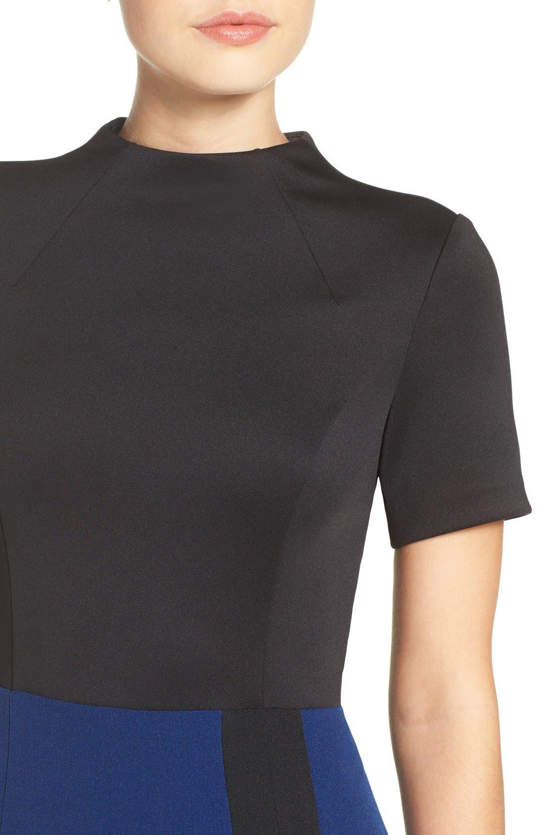 Scuba & Crepe Sheath Dress,                             Alternate thumbnail 4, color,