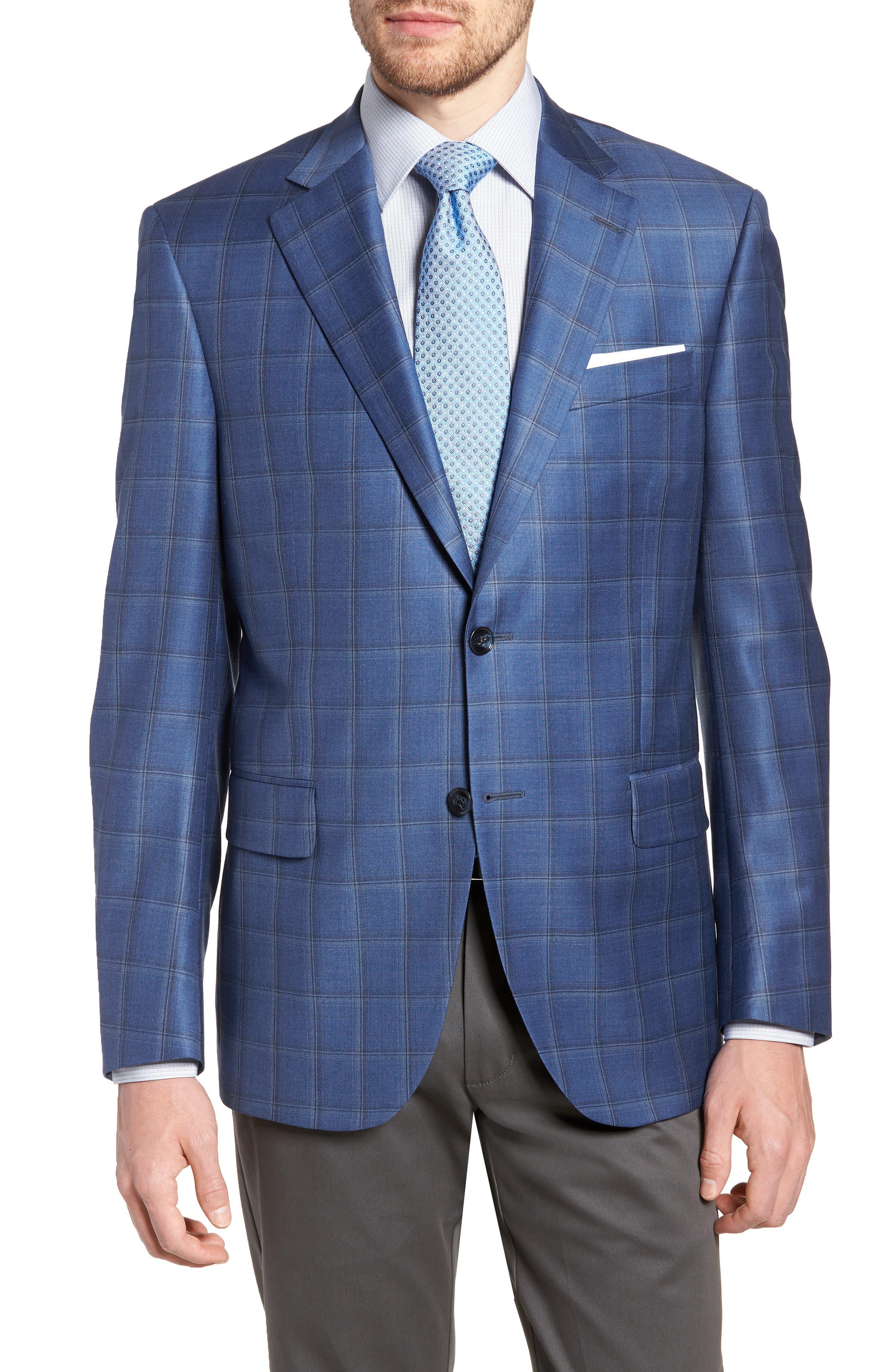 Classic Fit Plaid Wool Sport Coat,                         Main,                         color, 400