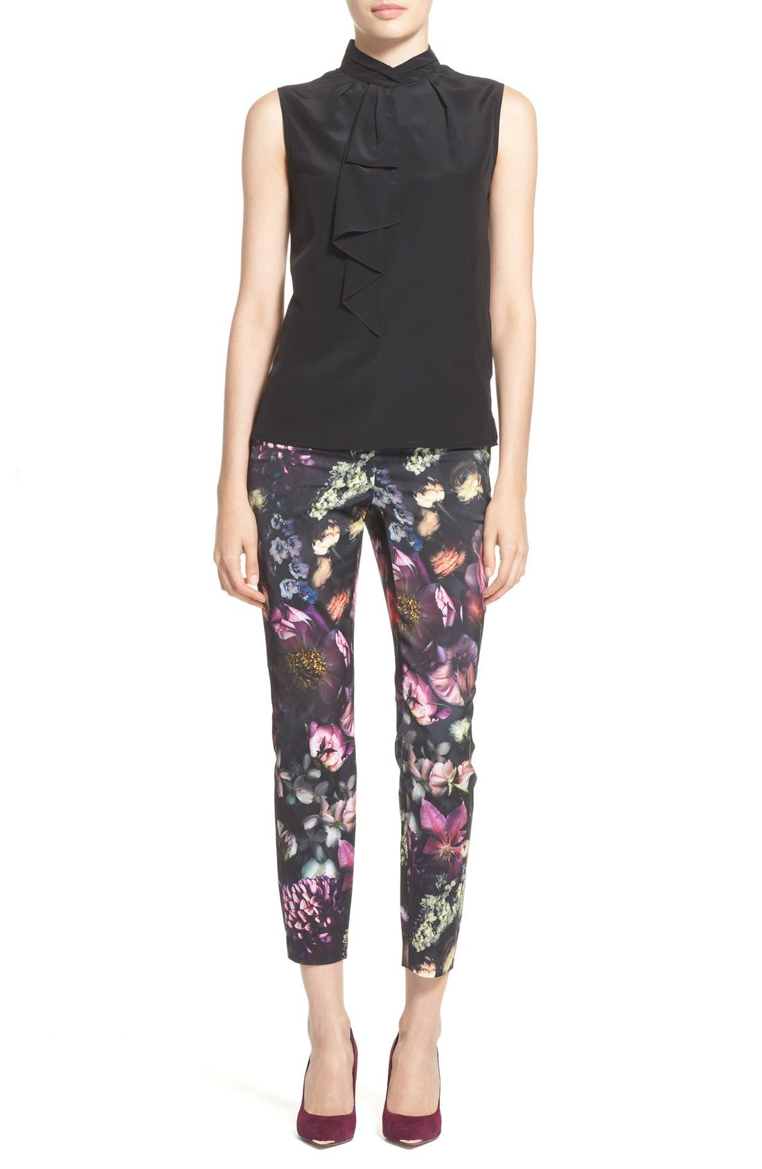 TED BAKER LONDON,                             'Anuja' Floral Print Trousers,                             Alternate thumbnail 3, color,                             021