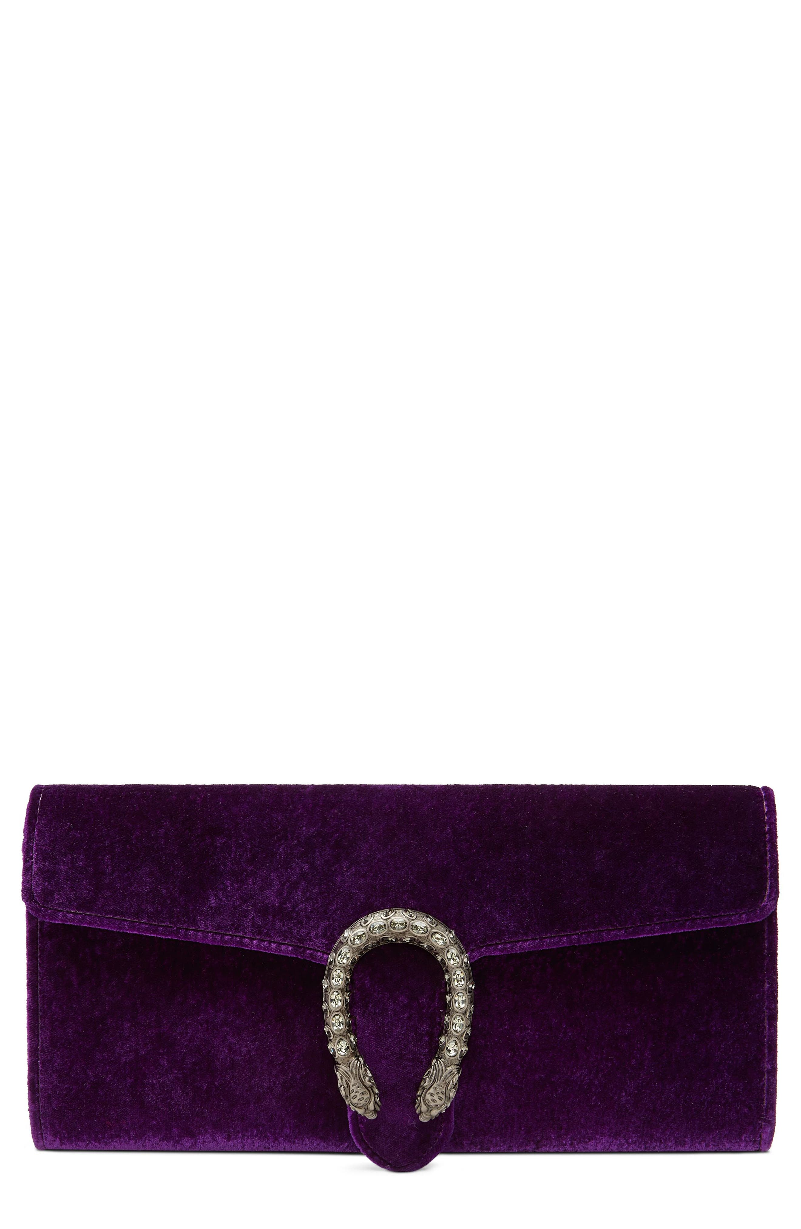 Dionysus Velvet Clutch,                         Main,                         color, VIOLA/ BLACK DIAMOND