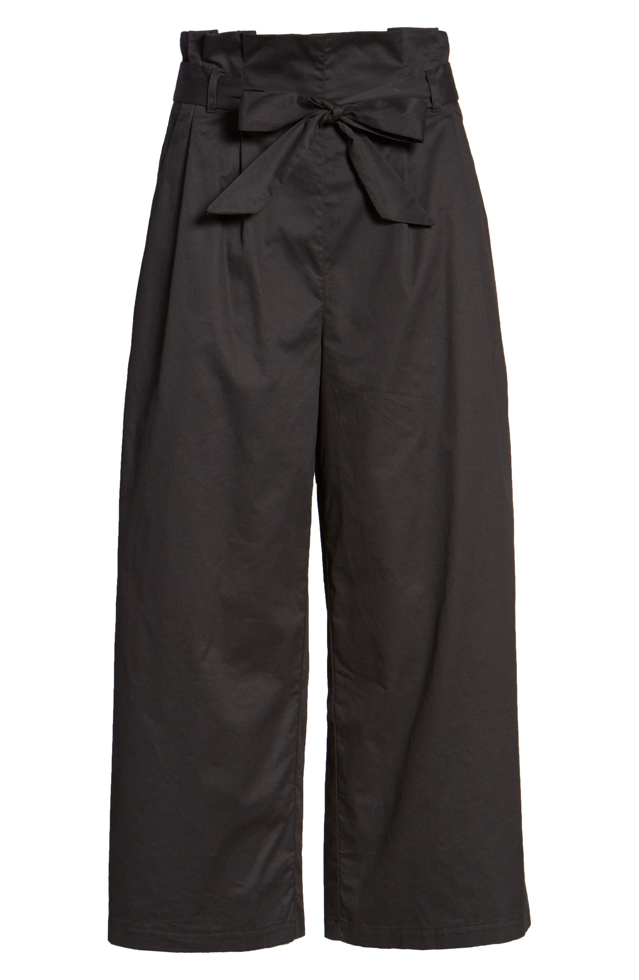 Paperbag Waist Wide Leg Pants,                             Alternate thumbnail 6, color,                             001