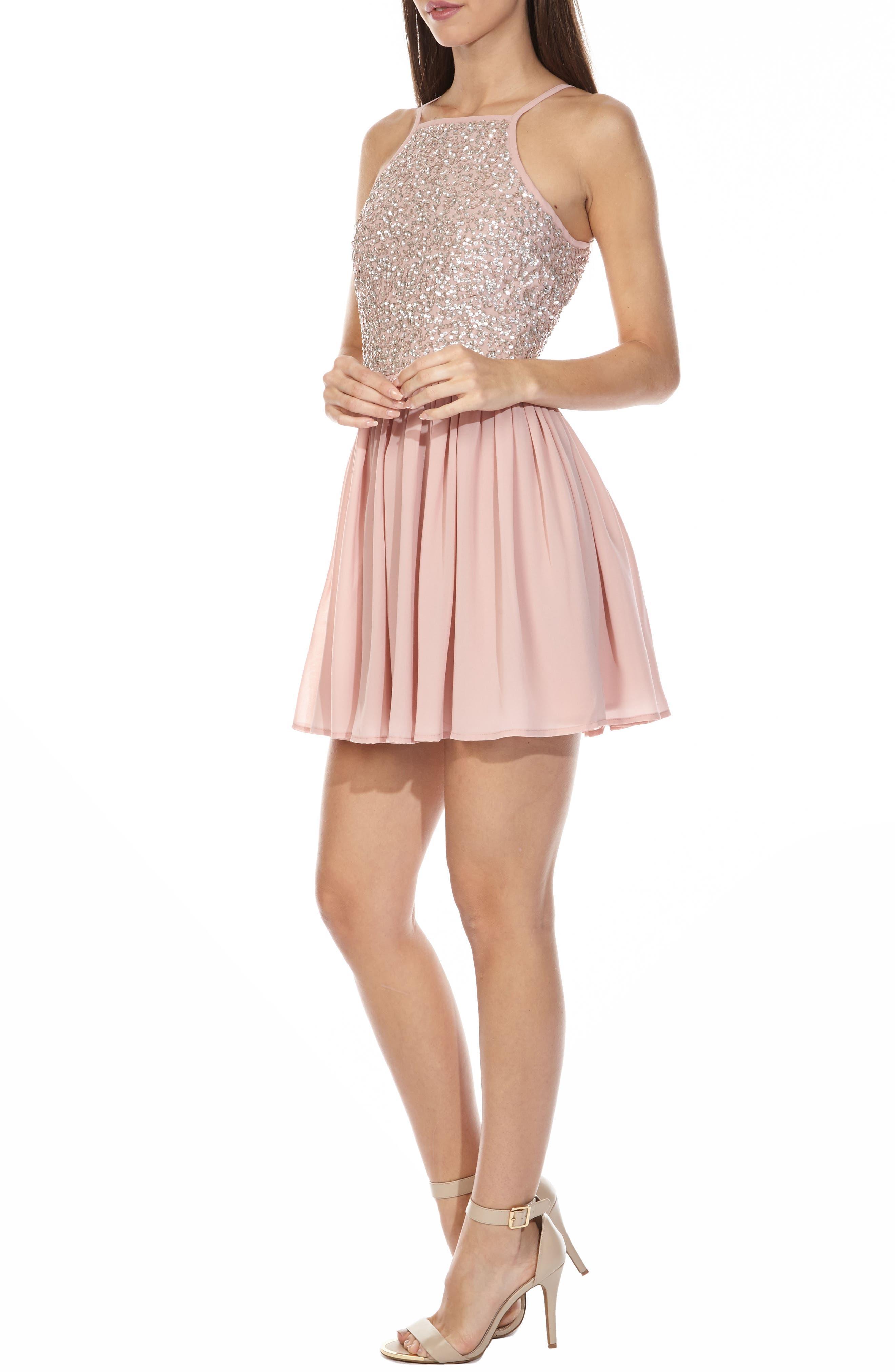 Sprinkle Sequin Skater Dress,                             Alternate thumbnail 3, color,