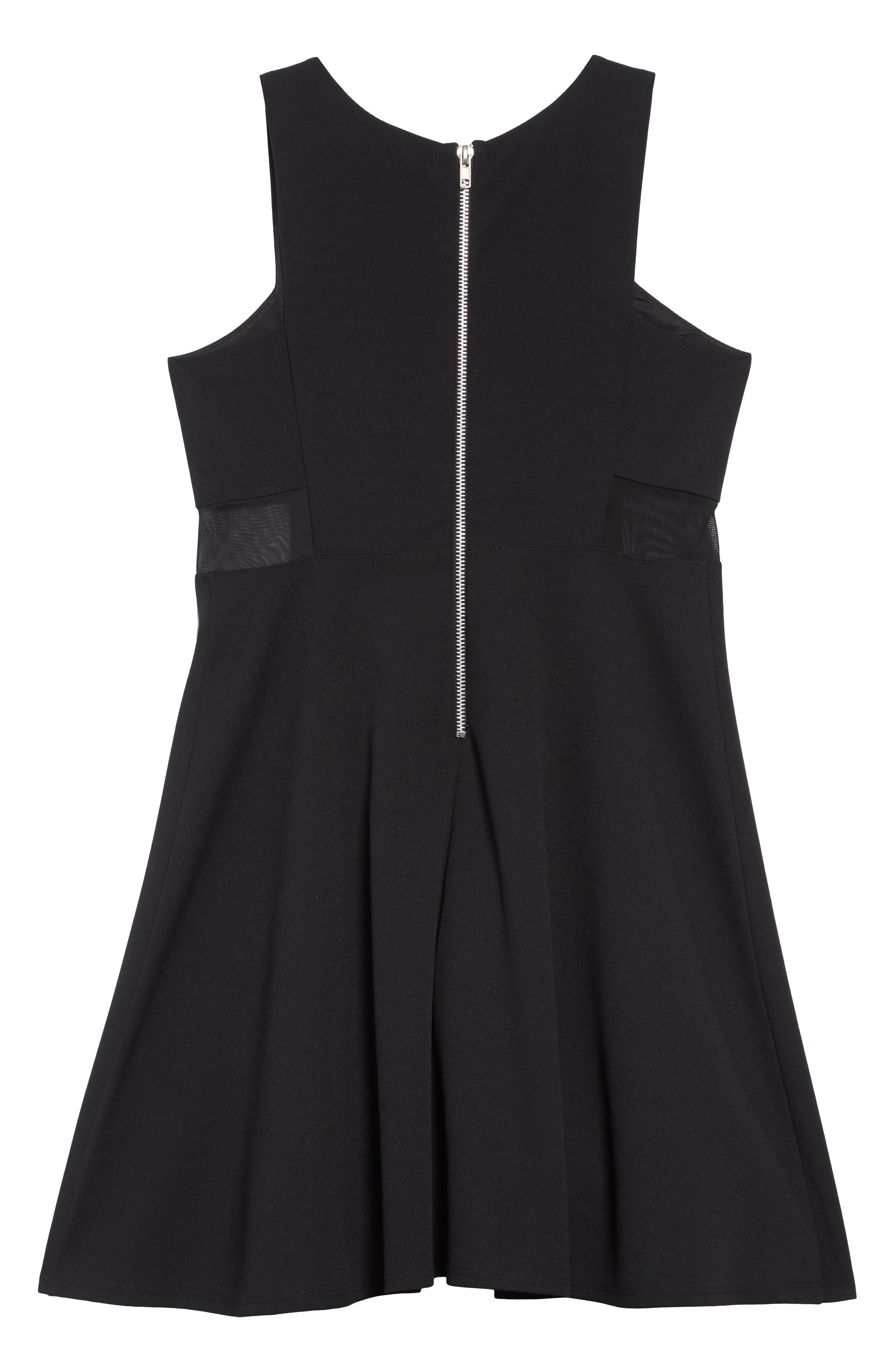 Mesh Inset Skater Dress,                             Alternate thumbnail 2, color,                             BLACK
