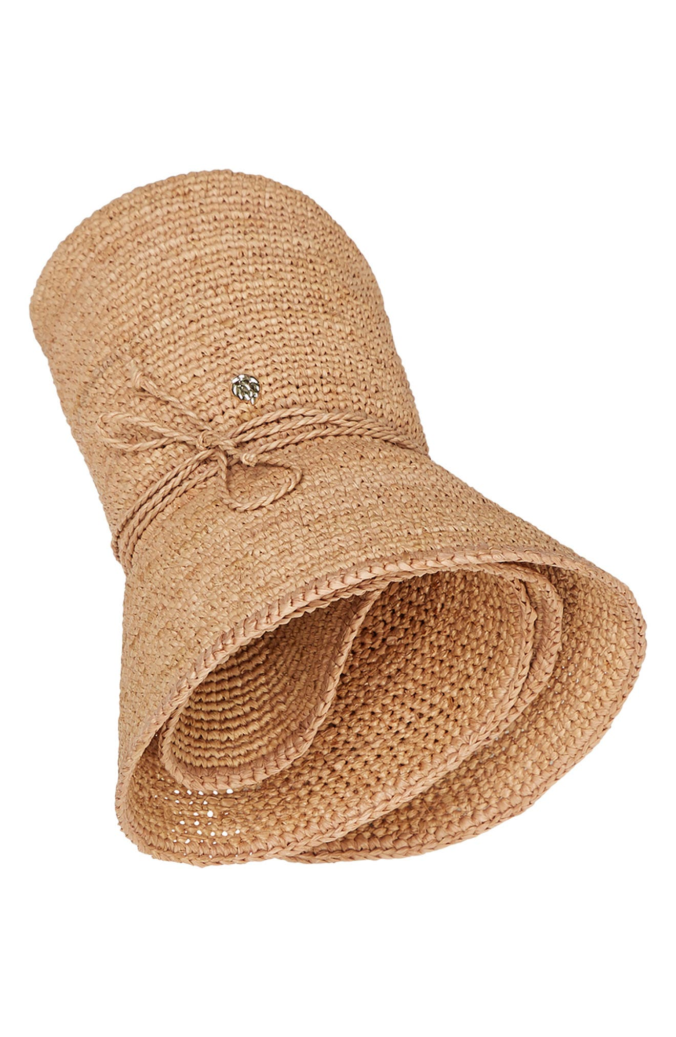 HELEN KAMINSKI,                             Desmonda Packable Raffia Fedora,                             Alternate thumbnail 3, color,                             NOUGAT