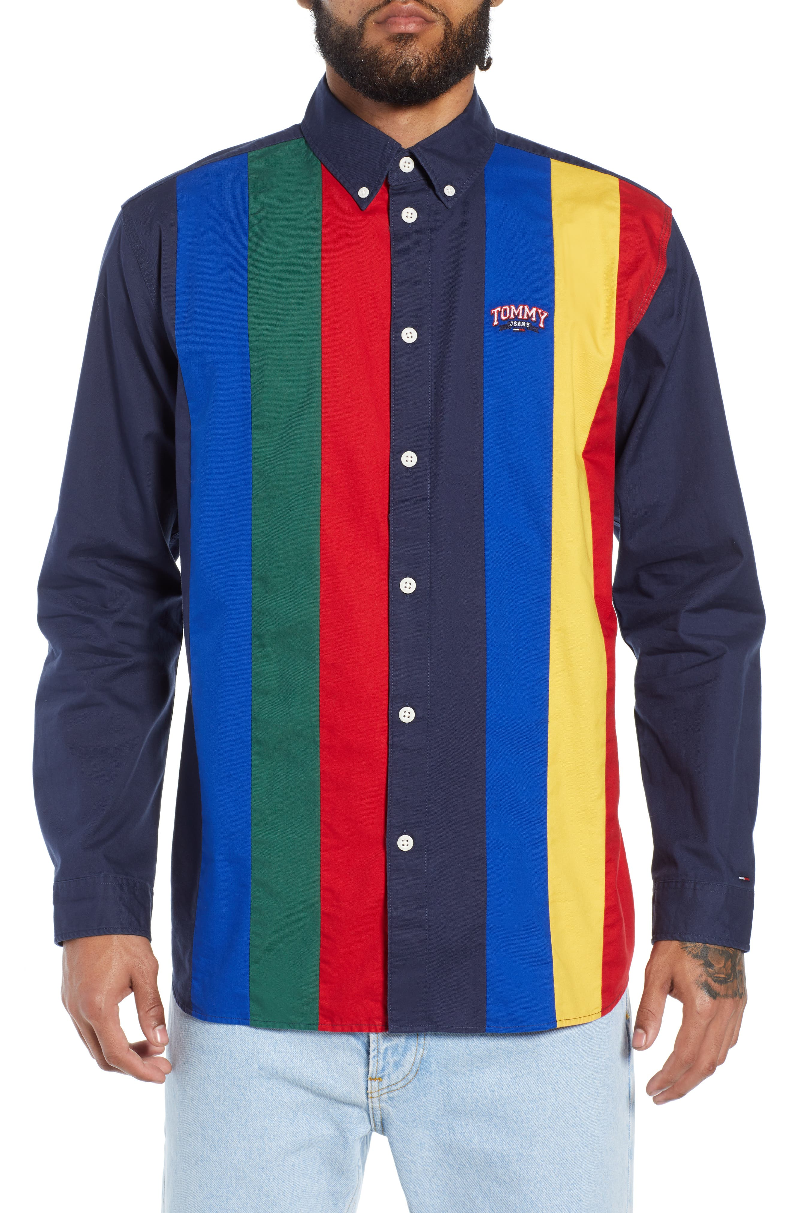TOMMY JEANS Retro Striped Regular Fit Button-Down Shirt in Black Iris / Multi